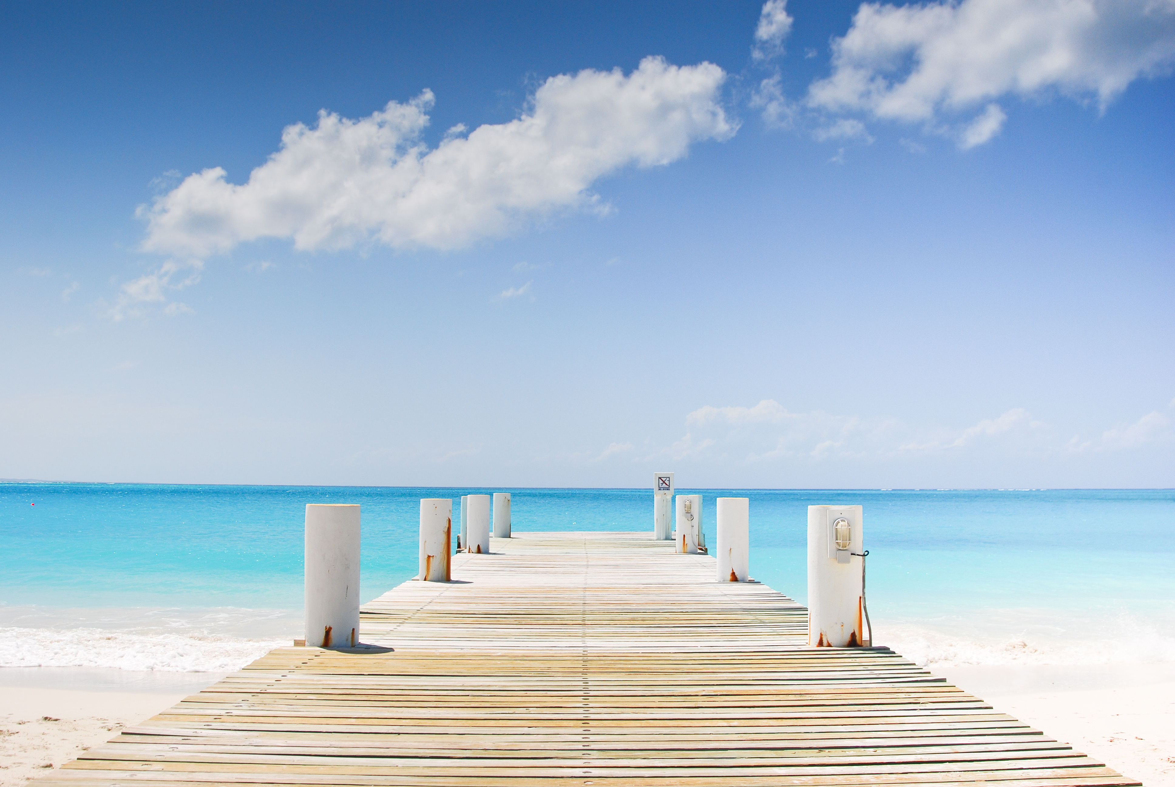 A beautiful day looking out onto the jetty in Providenciales, Turks and Caicos