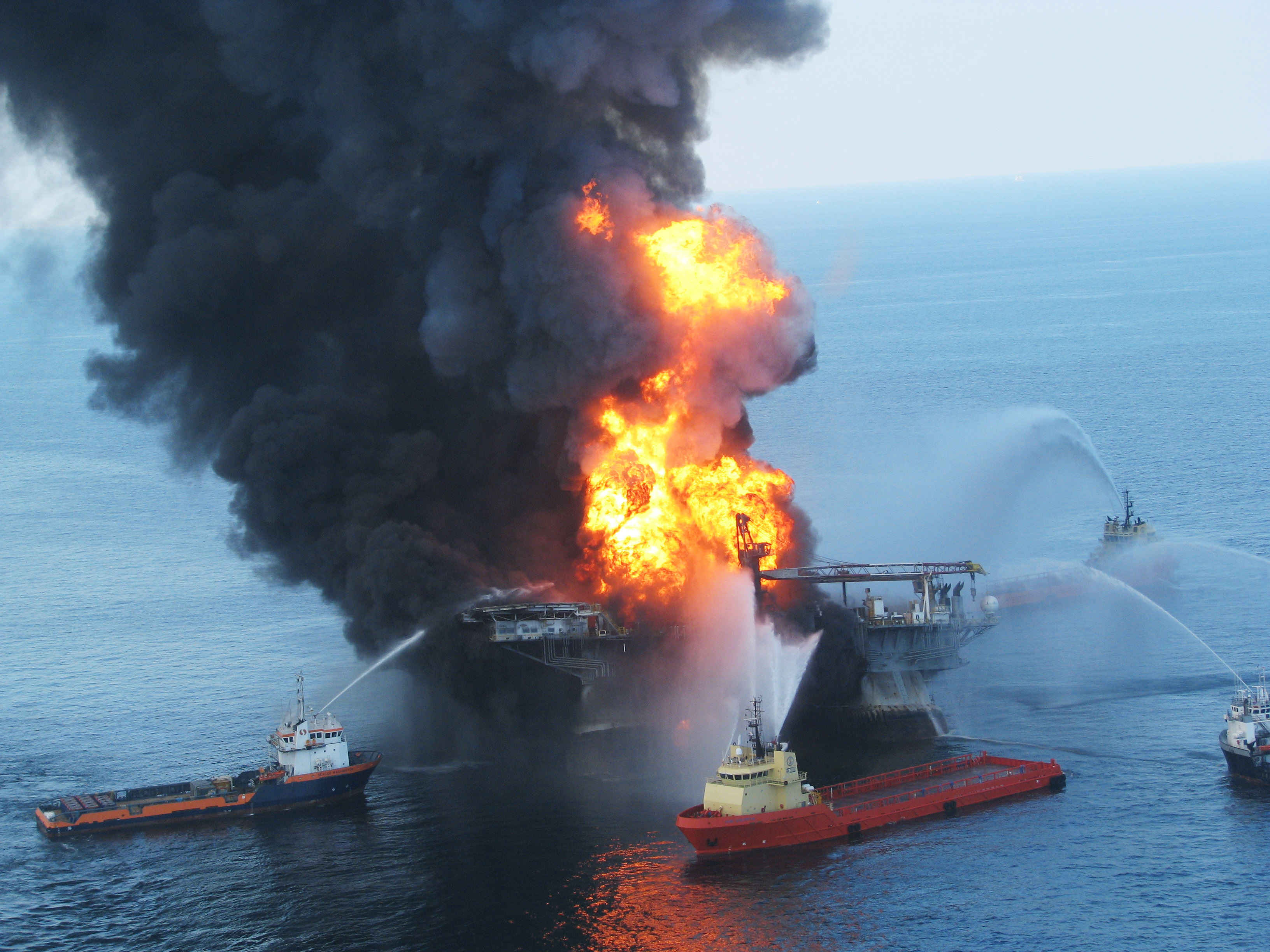 Fire boats battle a fire at the off shore oil rig Deepwater Horizon.