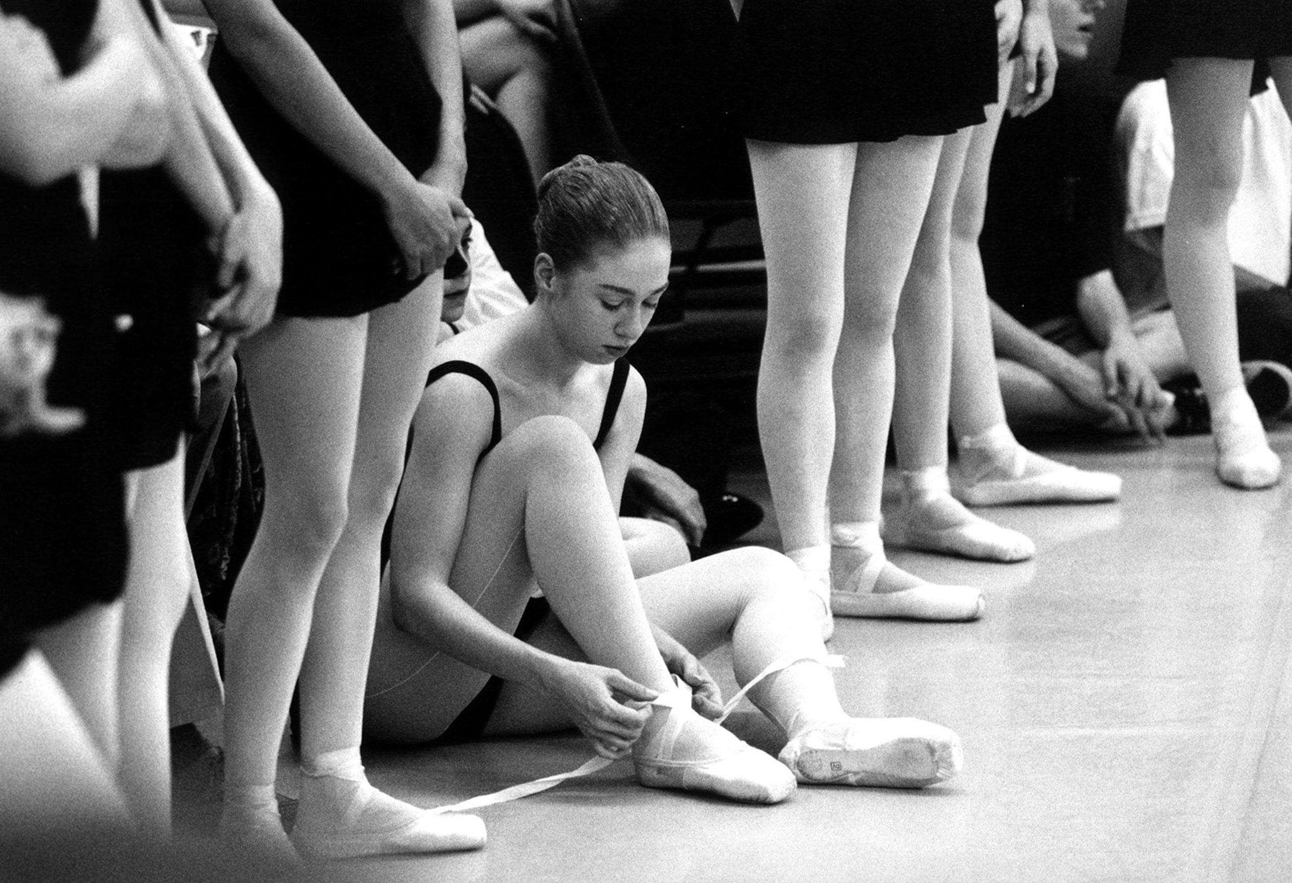 Chelsea Clinton at a ballet recital at the Washington School of Ballet in Washington, DC.