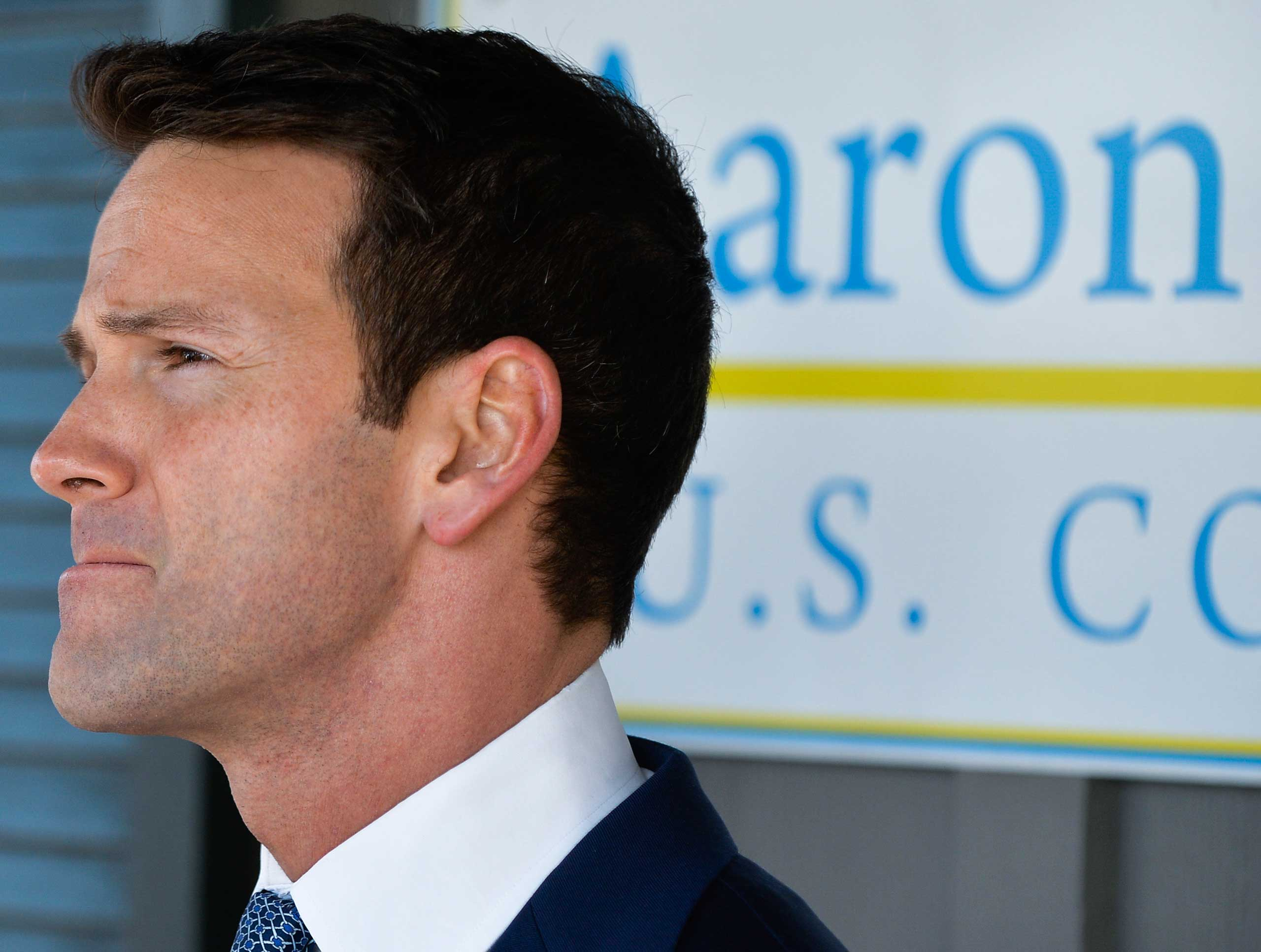 U.S. Rep. Aaron Schock, R-Ill., gives a news conference regarding his recent spending controversies outside his office in Peoria, Ill. March 6, 2015.
