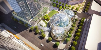 Amazon Seattle, Wash., Three 38-story office towers in an underdeveloped downtown area will be built around glass bio-domes.