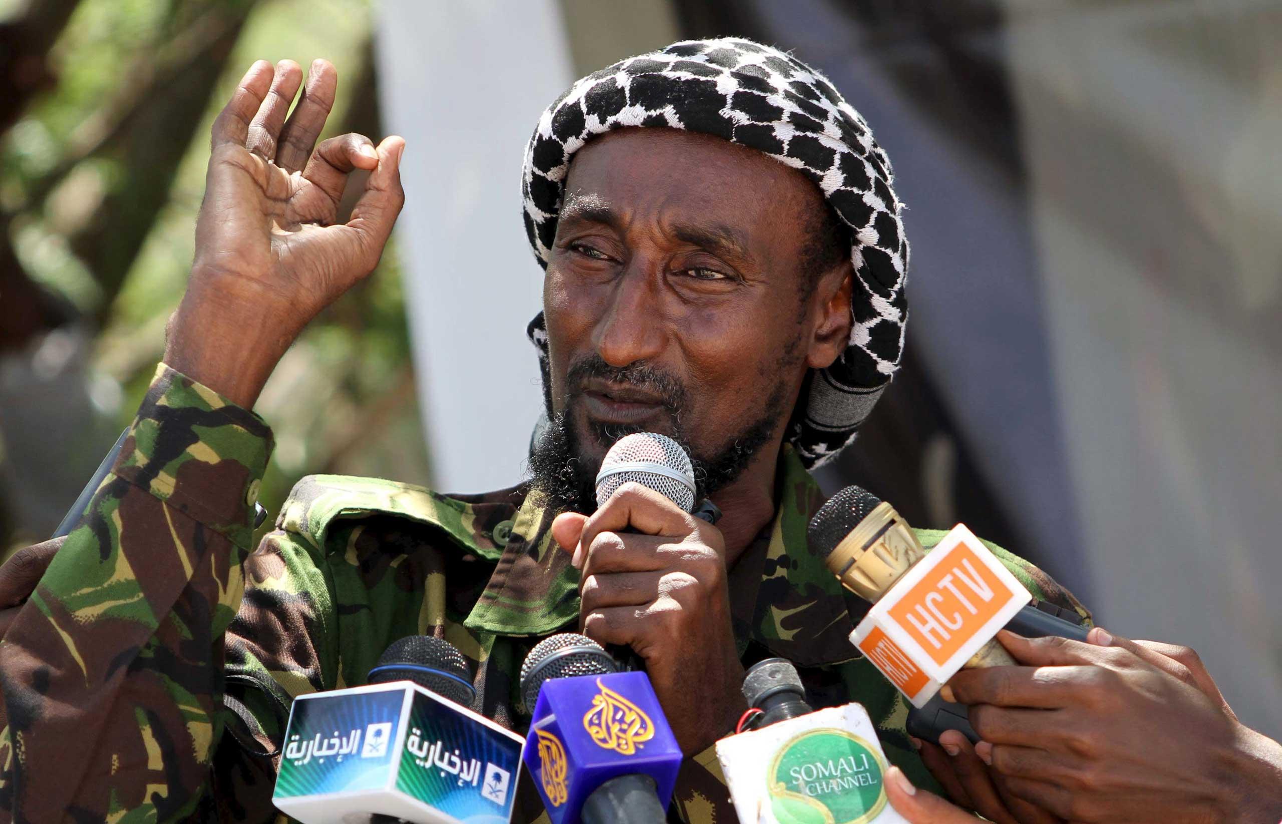 Senior Al-Shabab officer Mohamed Mohamud alias Sheik Dulayadayn addresses in Mogadishu, Somalia on Jan. 1, 2011.