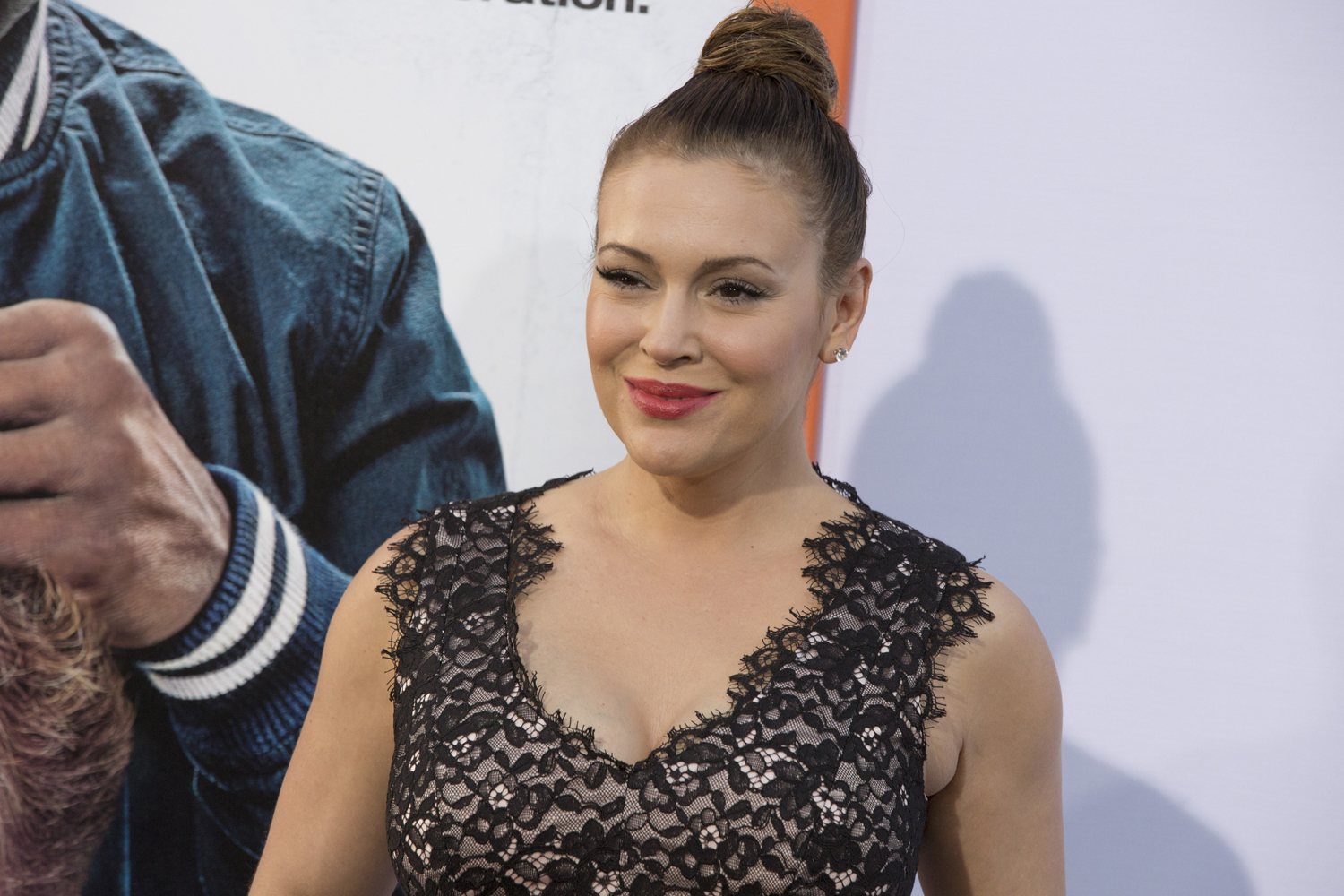 Alyssa Milano arrives at the LA premiere of Get Hard at the TCL Chinese Theatre on March 25, 2015, in Los Angeles