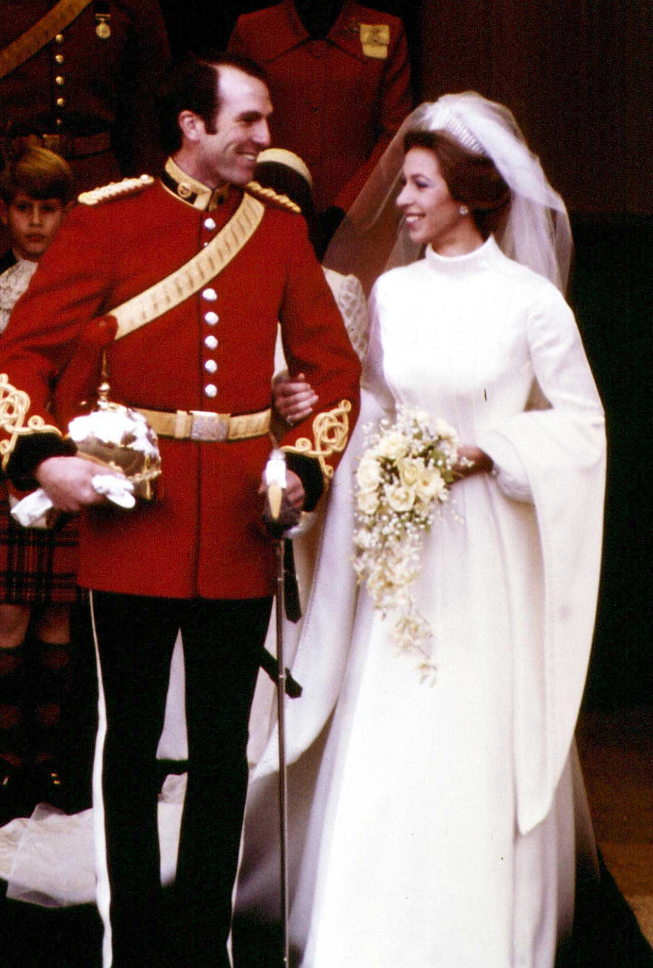 Princess Anne and Captain Mark Phillips leaving the west door of Westminster Abbey in London, after their wedding ceremony, Nov. 14, 1973.