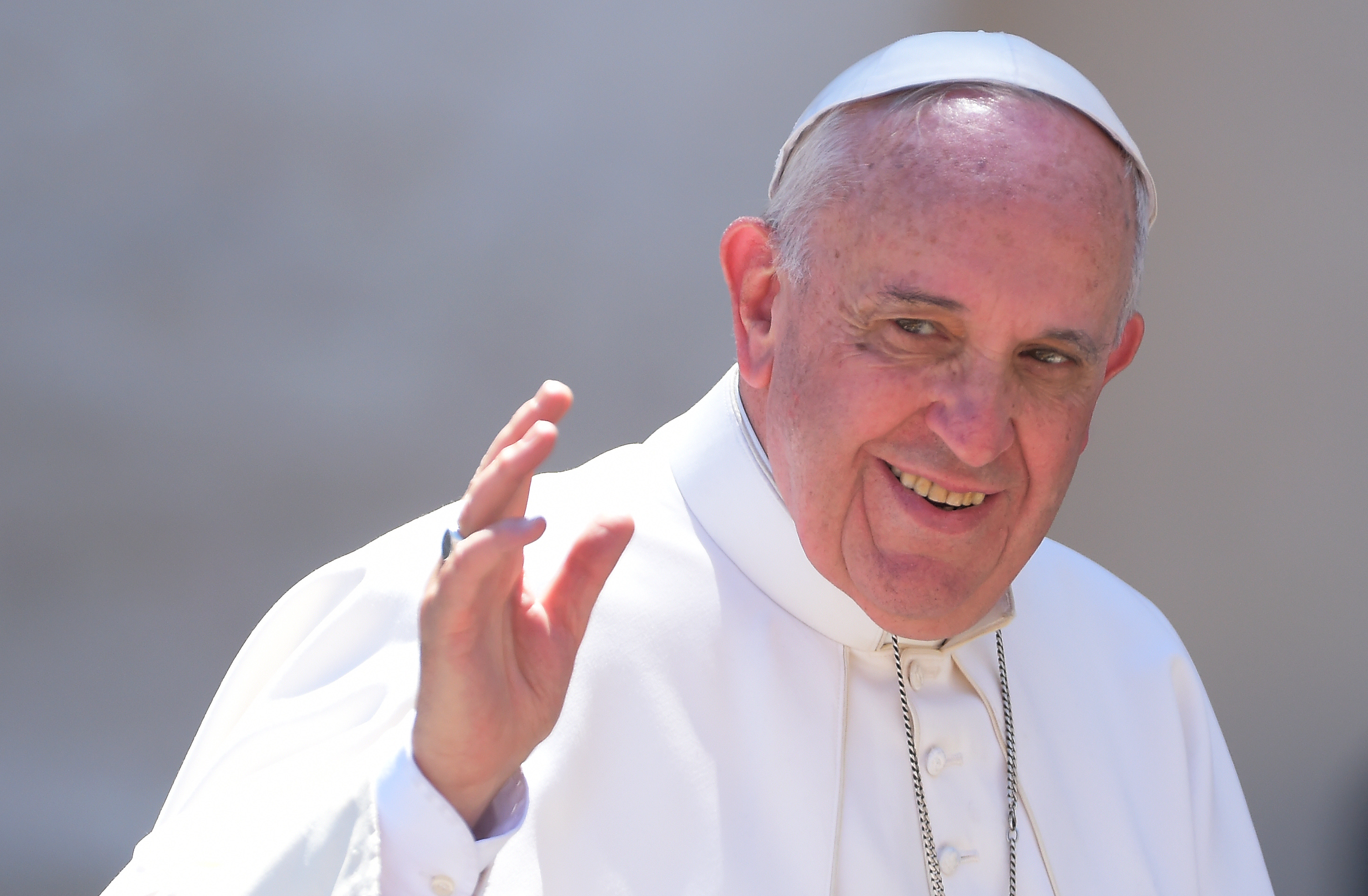 Pope Francis attends the weekly general audience in Saint Peter's Square at the Vatican on April 22, 2015