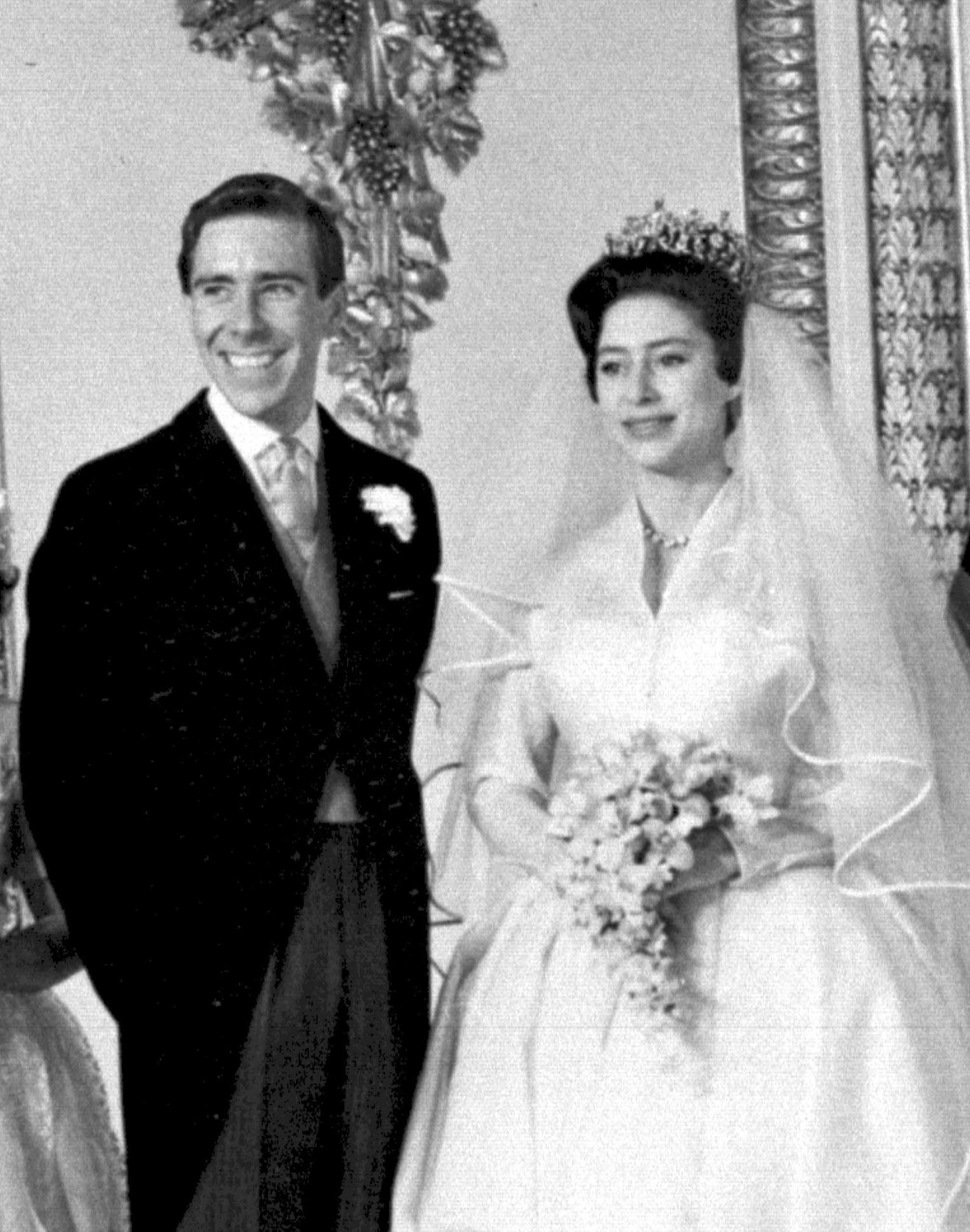 Princess Margaret and Anthony Armstrong-Jones at Buckingham Palace at their marriage ceremony at Westminster Abbey, London on May 6, 1960.