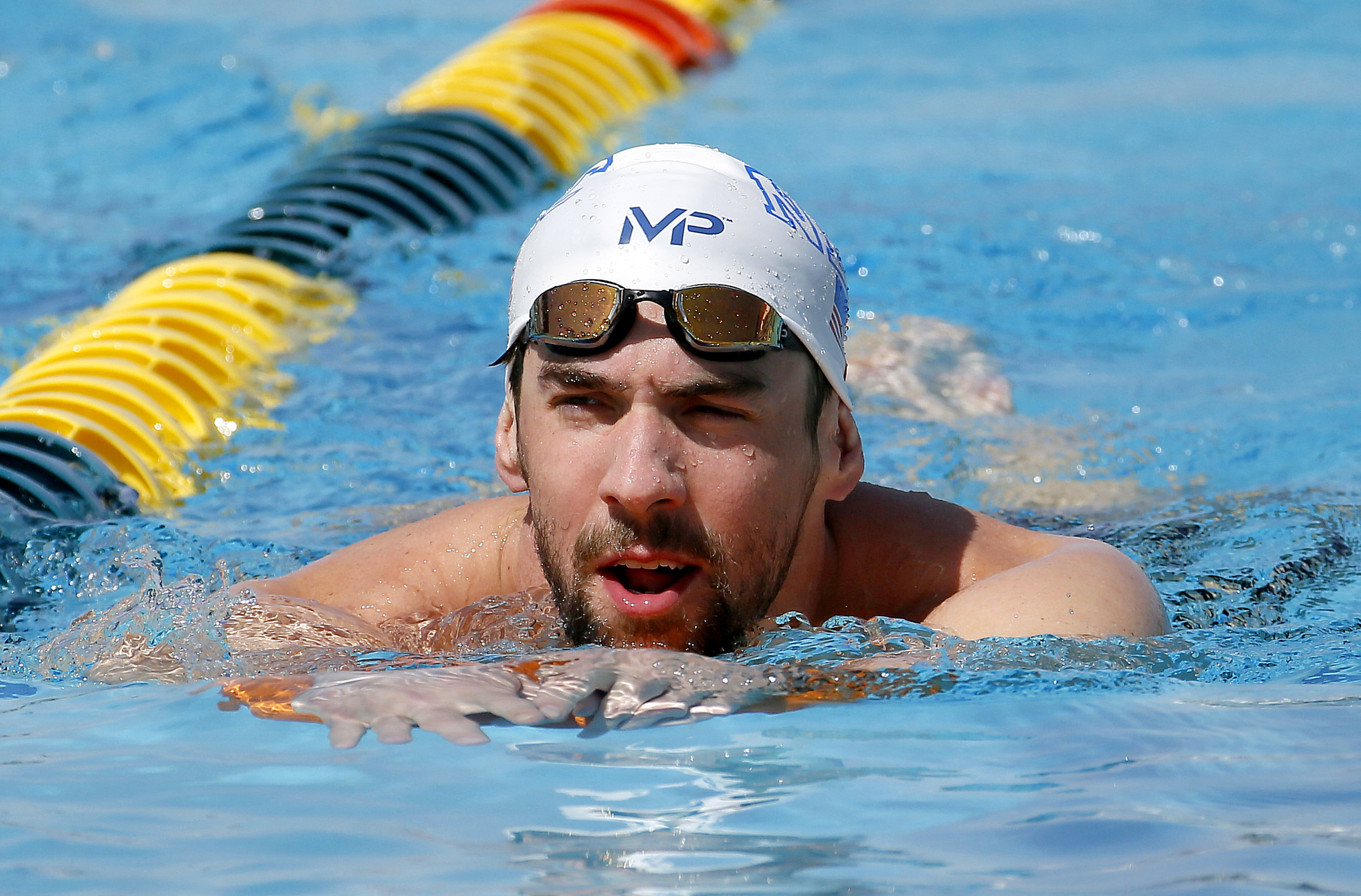 Michael Phelps during a practice session in Mesa, Ariz. on April 15, 2015.