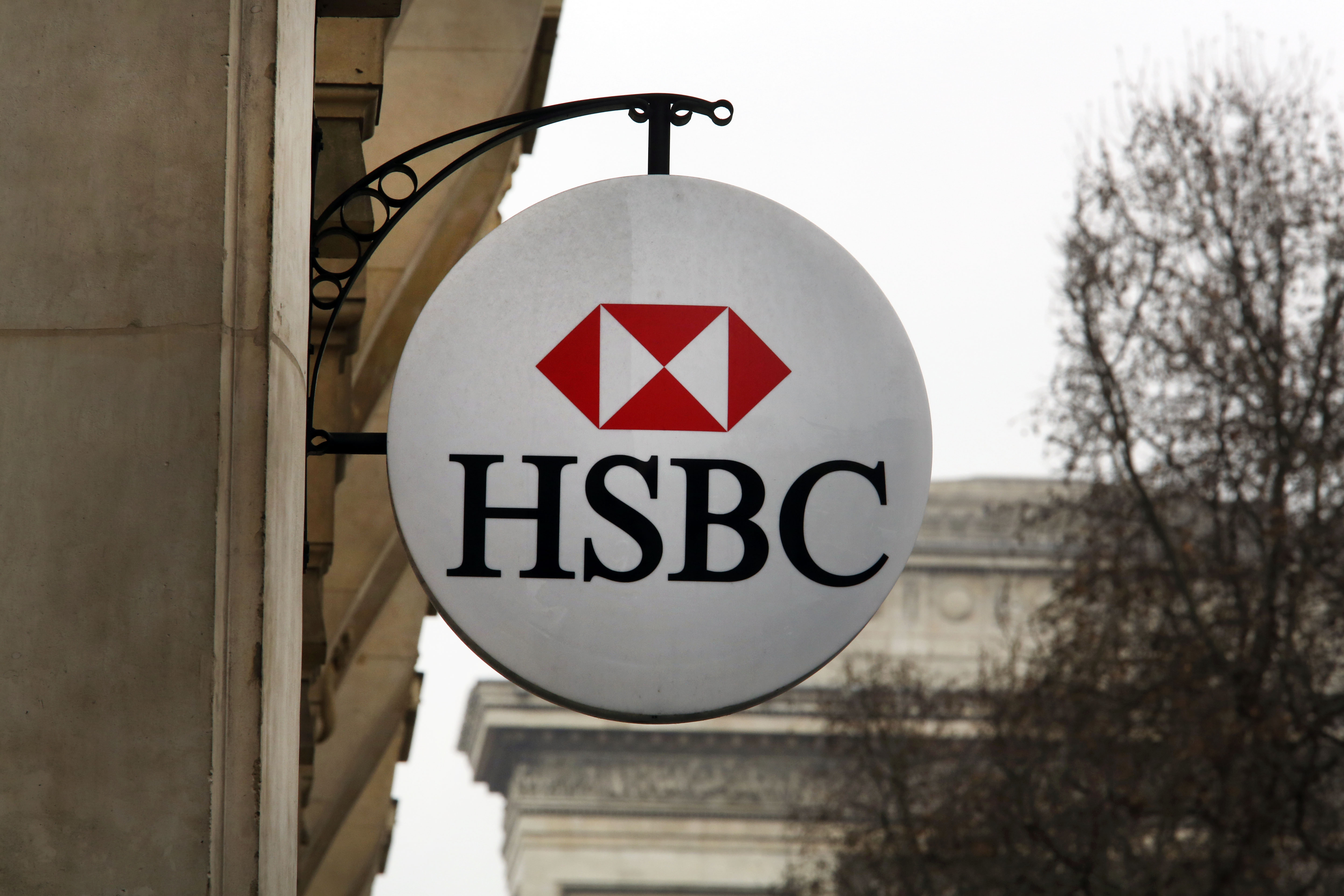 The HSBC logo on the facade of HSBC France headquarters in Paris on Feb. 9, 2015.