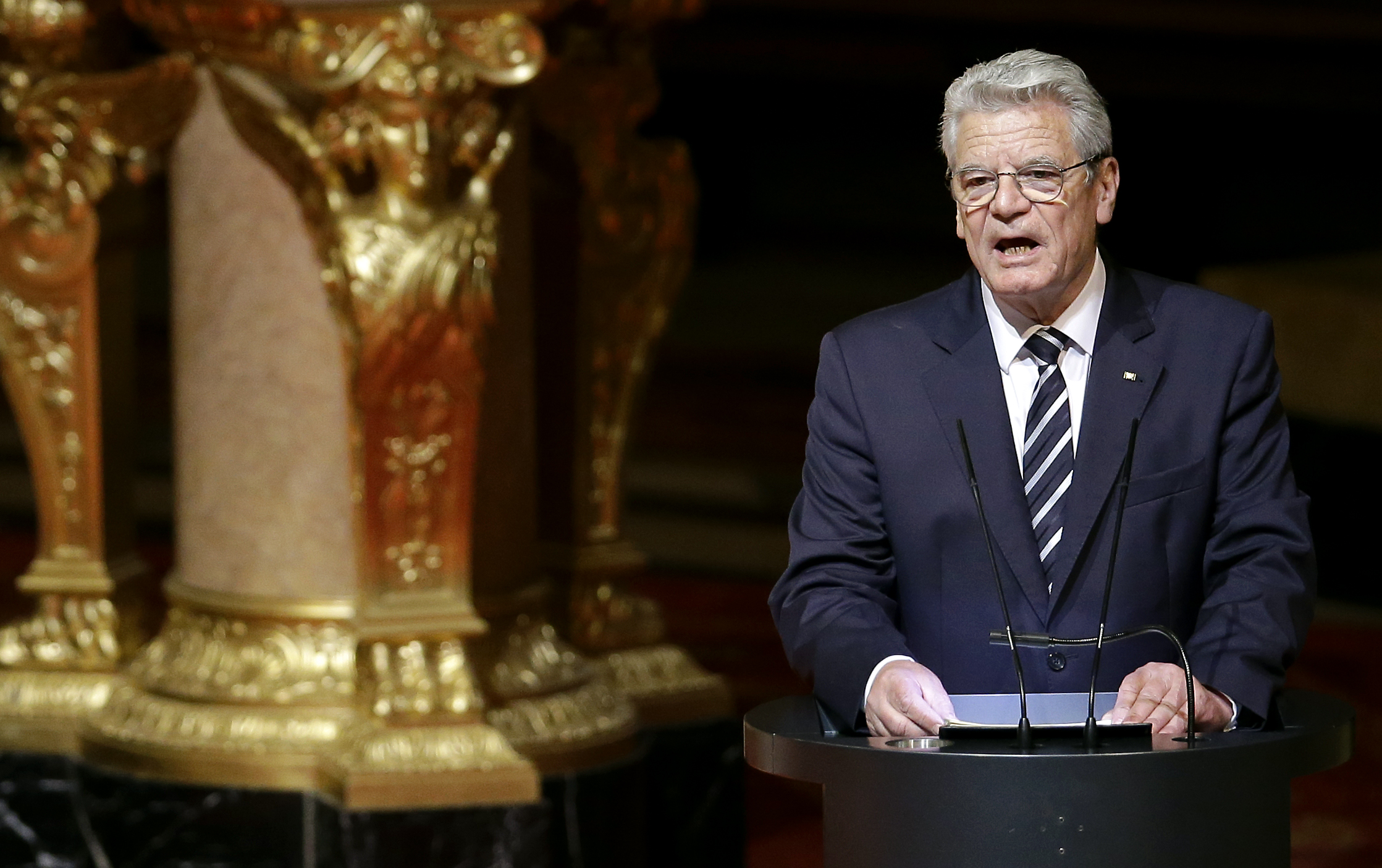 German President Joachim Gauck delivers a speech at the Berlin Cathedral Church in Berlin, Germany, April 23, 2015