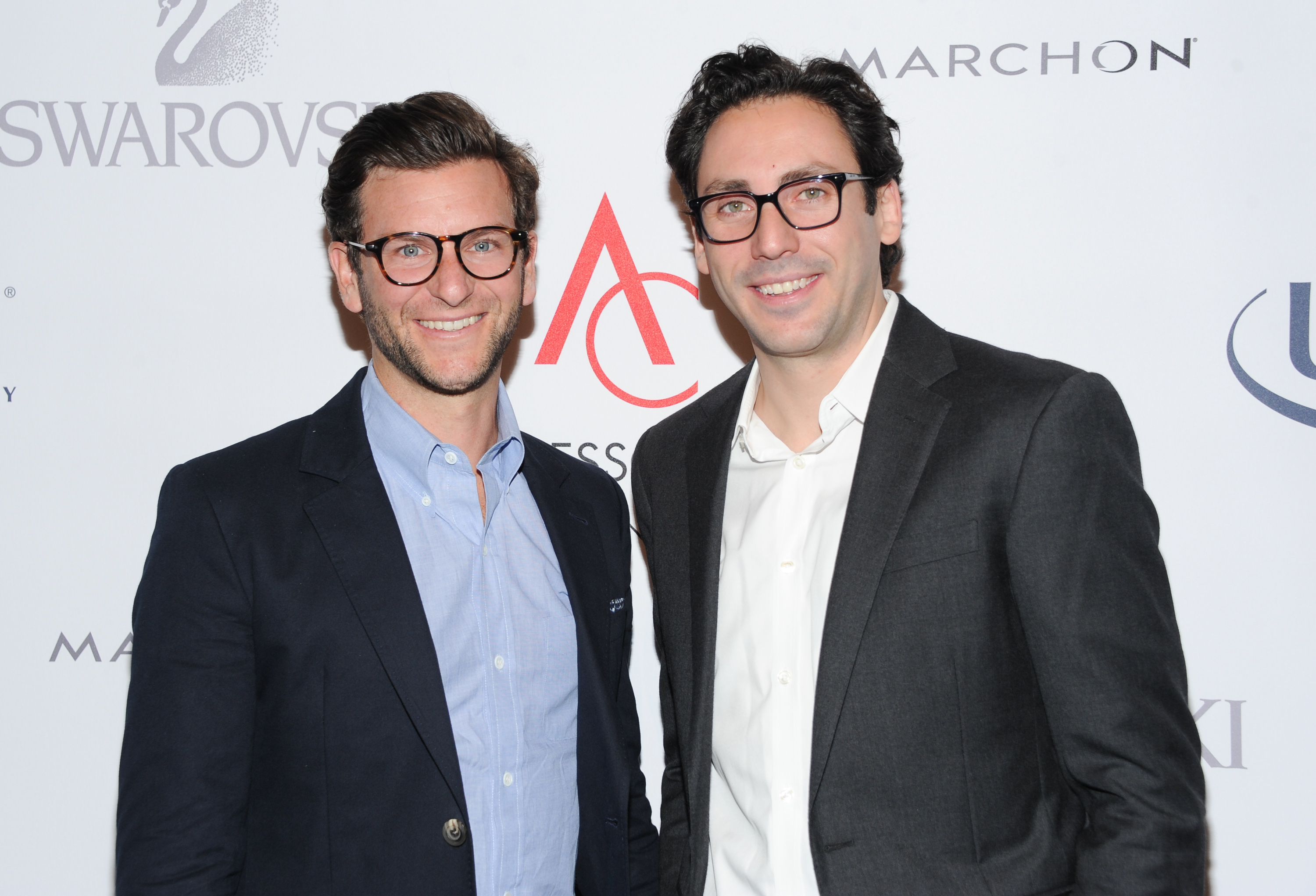 Warby Parker founders David Gilboa (L) and Neil Blumenthal attend the 17th Annual ACE Awards in New York City on Nov. 4, 2013.