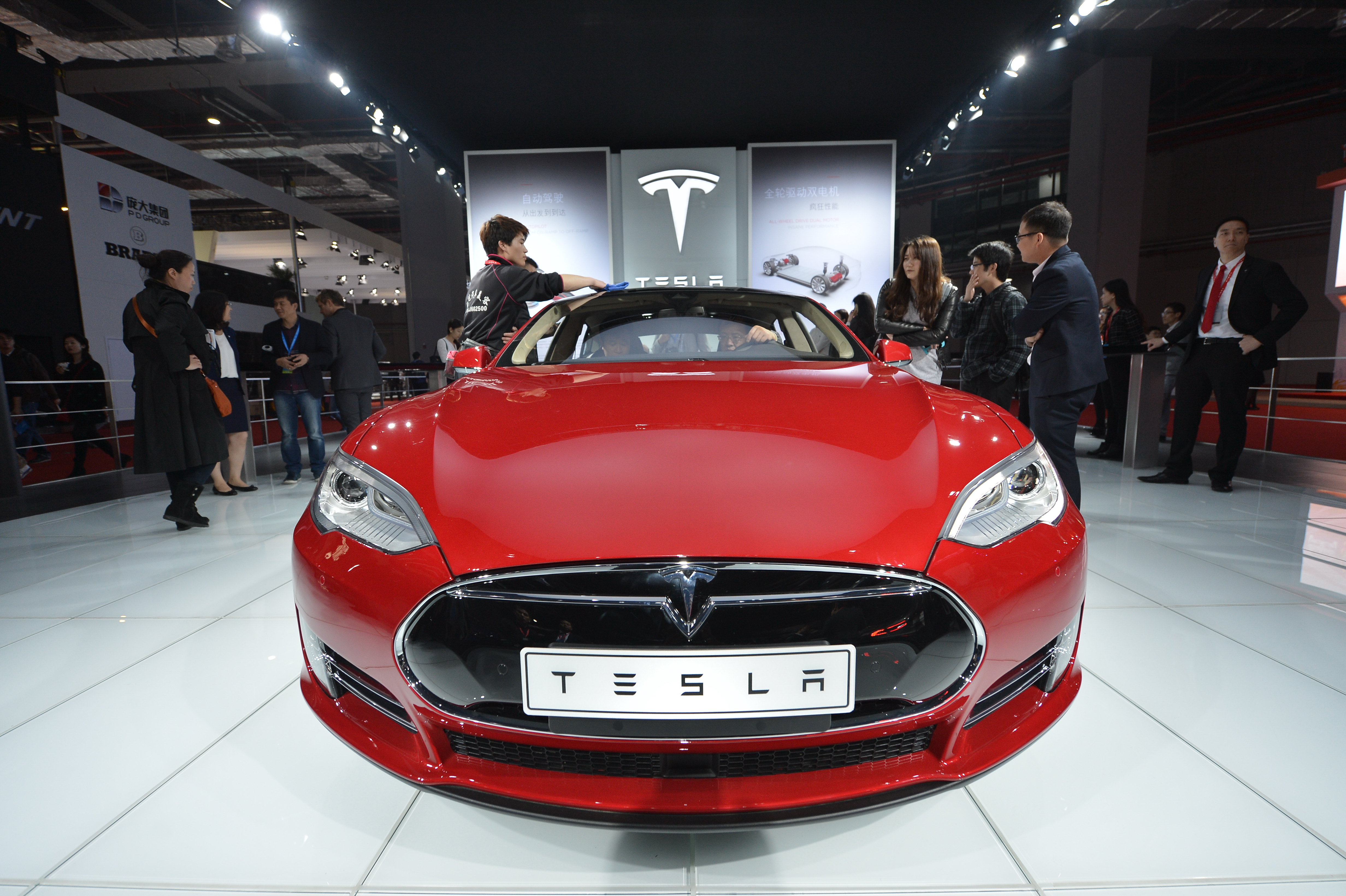 Tesla Model S electric car on display at the 16th Shanghai International Automobile Industry Exhibition in Shanghai on April 20, 2015.