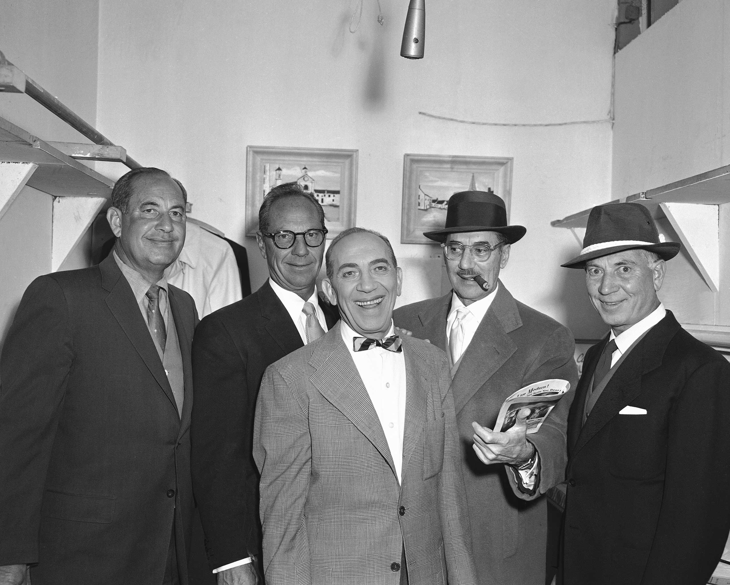 THE MARX BROTHERS: From left, Gummo, Zeppo, Chico, Groucho and Harpo pose for a family photo in 1957. Though he appeared in seven of the brothers' films, Zeppo abandoned performing to become an agent.