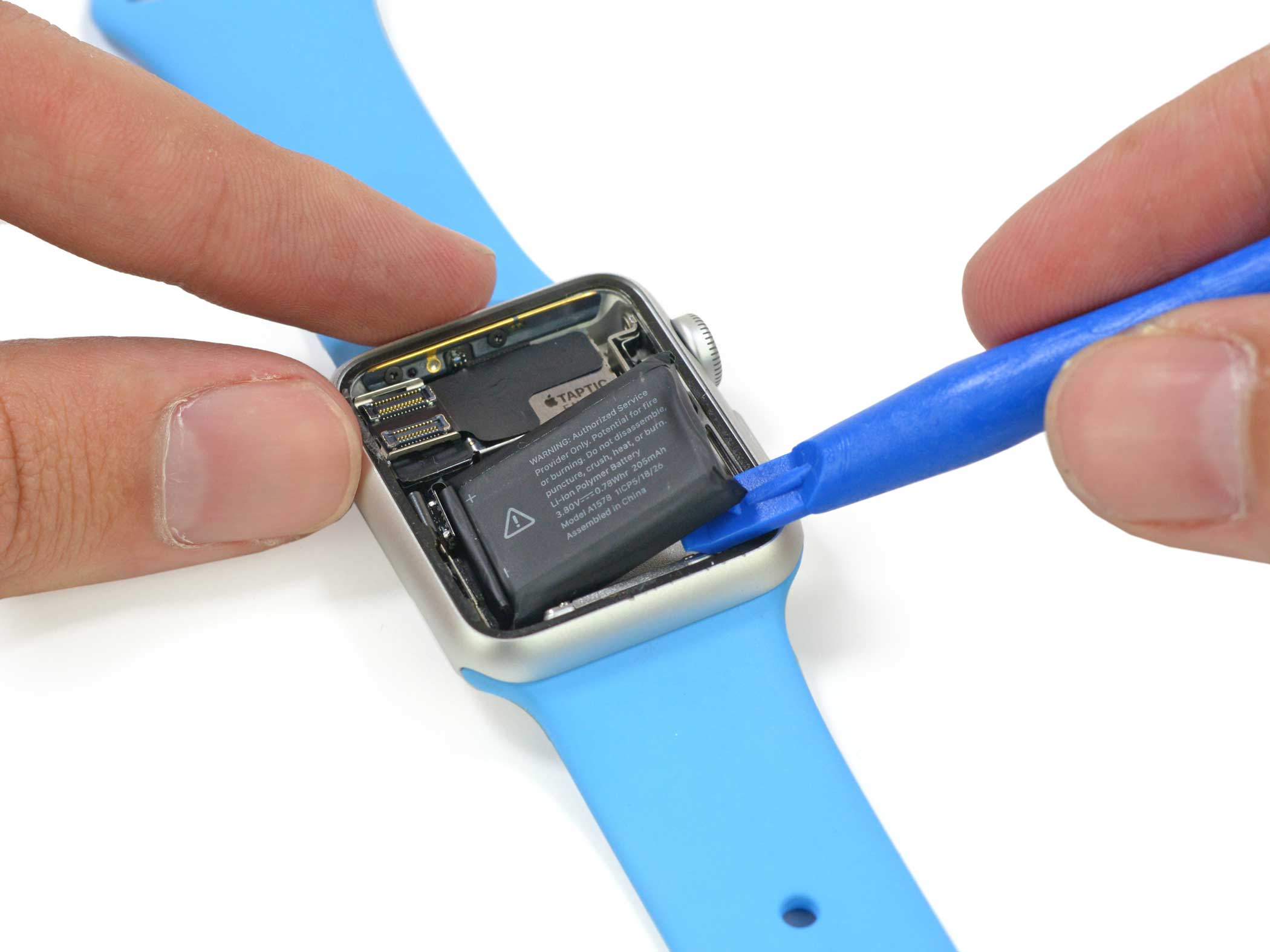 A plastic tool is used to remove the device's battery. The Apple Watch sports a 3.8 V, 0.78 Wh lithium-ion battery, which has a life of about 18 hours for general use before needing a recharge