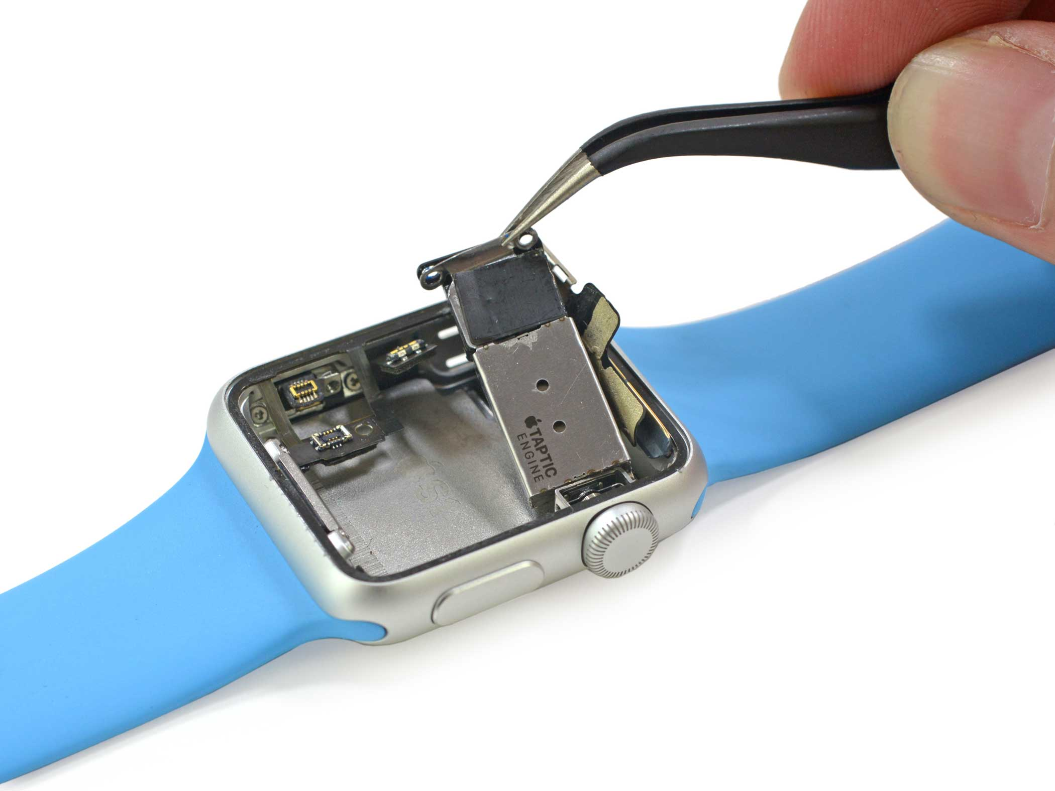 The Taptic Engine is the tiny motor that provides force feedback whenever the watchface is pressed or when the user receives a notification. Here, we see that it is attached to the Apple Watch's speaker