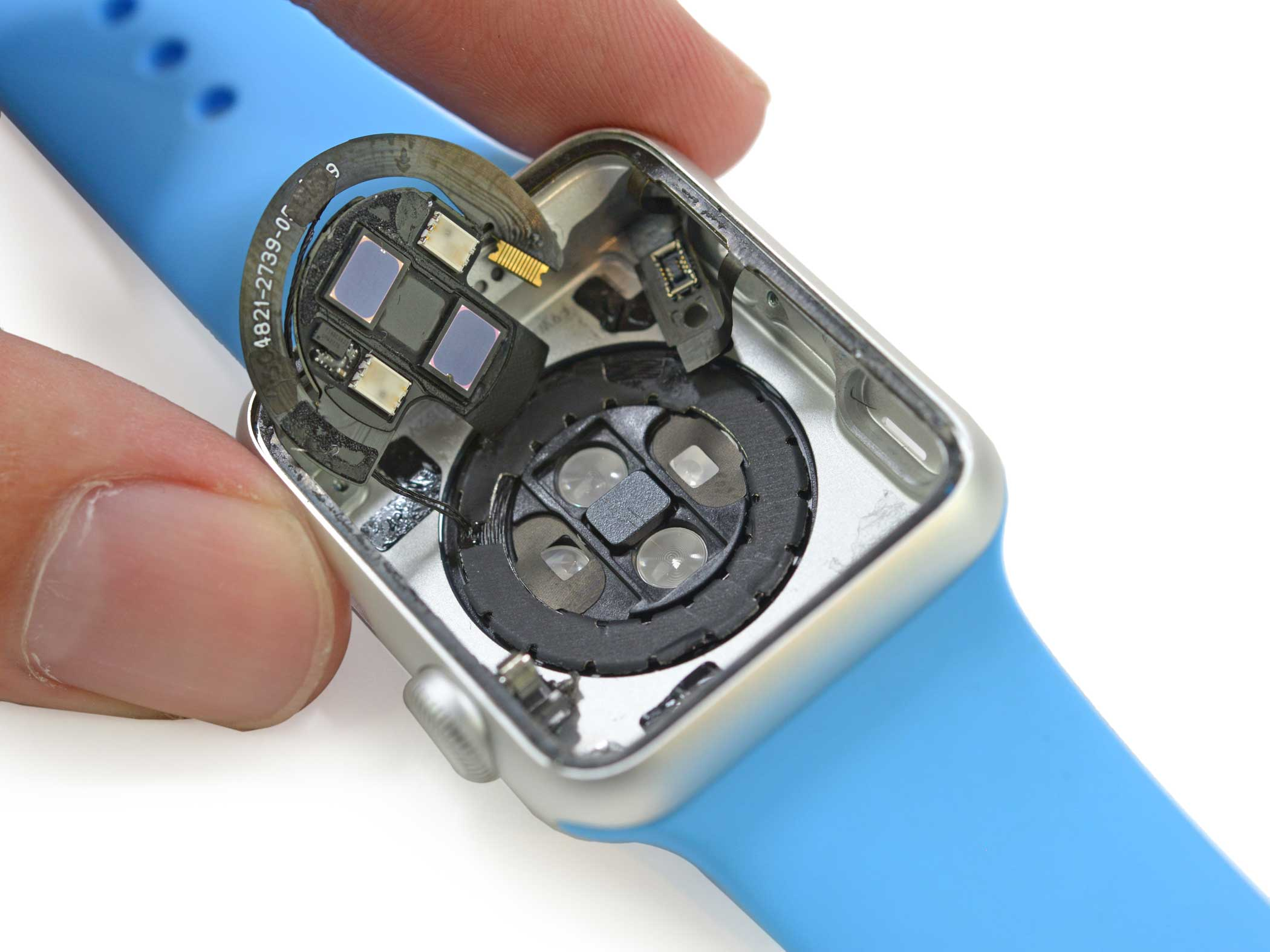 At the bottom of the watch case lies the plethysmograph that serves as the Apple Watch's heart rate monitor. The device may also be able to measure a user's blood oxygen level, but Apple hasn't promoted this feature, possibly due to FDA regulations