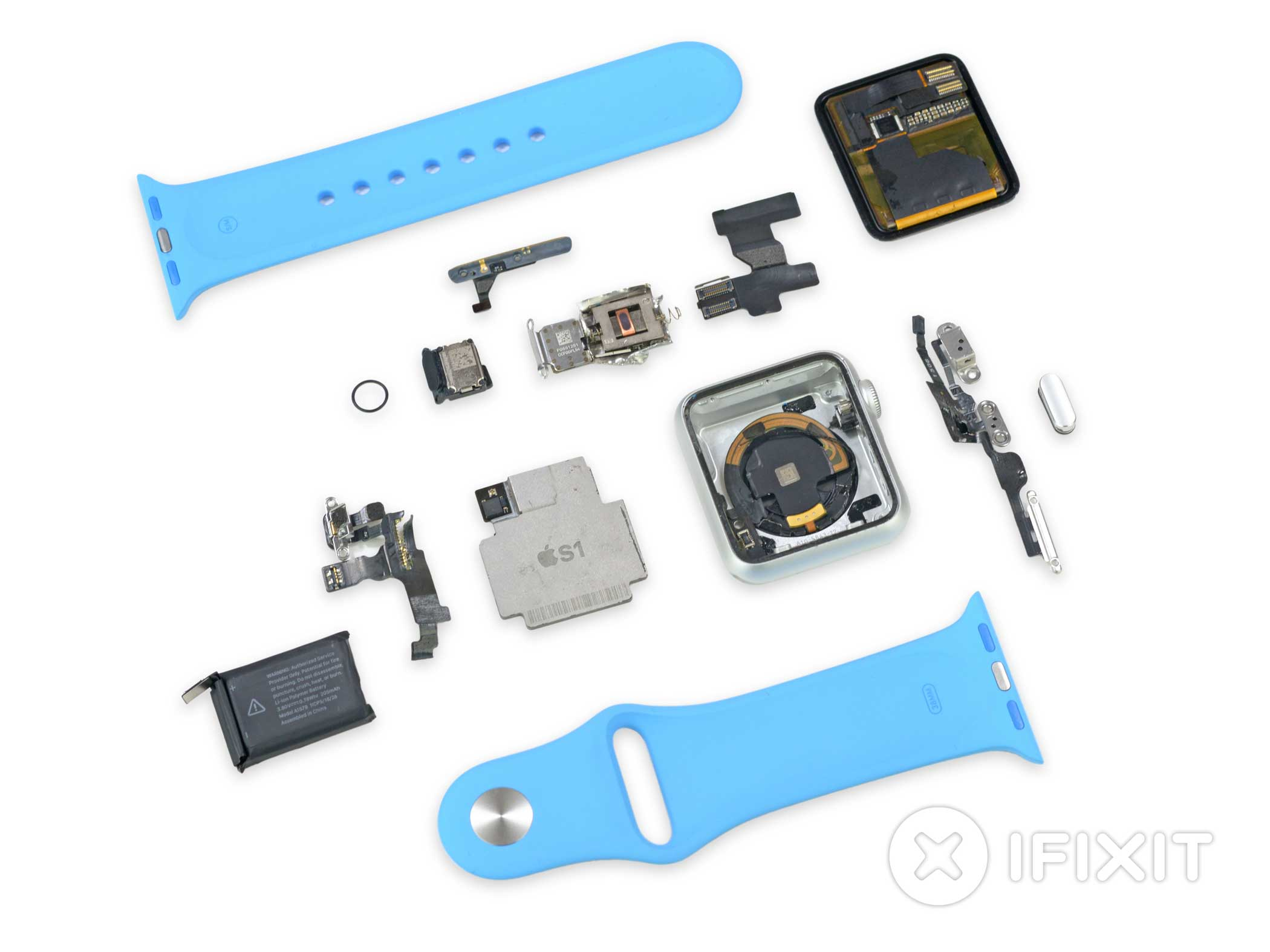 The separate components of the Apple Watch