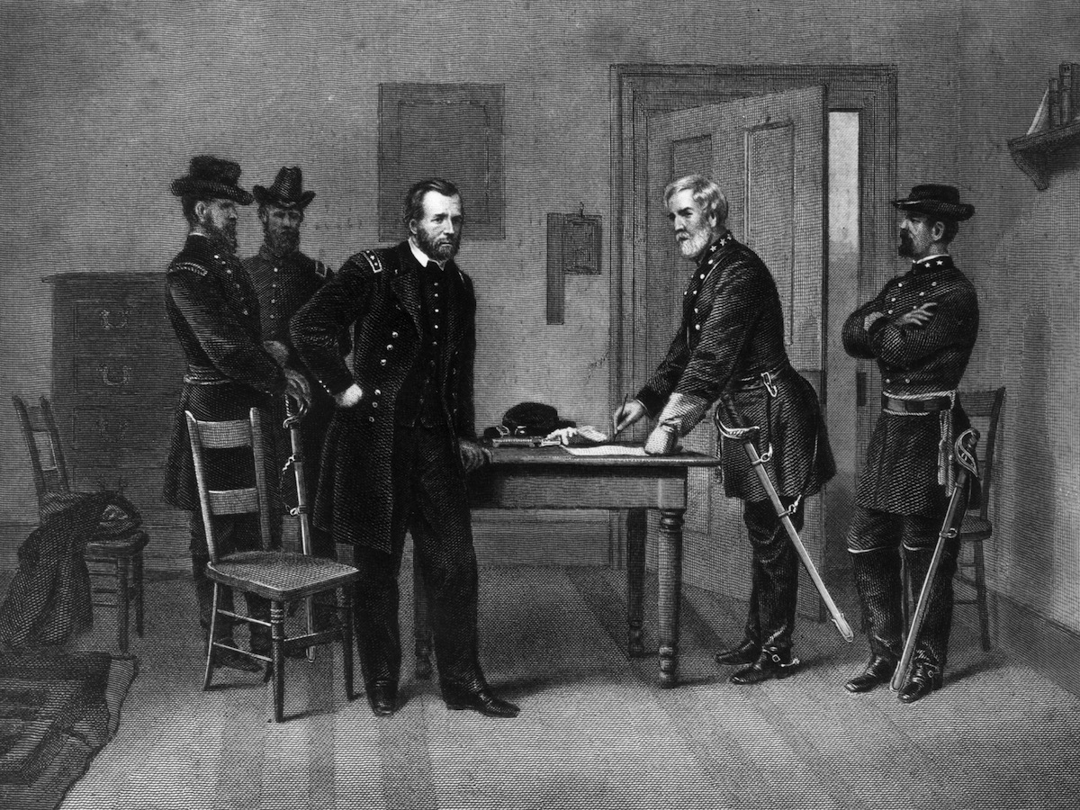 Confederate General Robert E Lee (1807 - 1870) surrending to the Union General Ulysses S Grant (1822 - 1885) at the Appomattox court house in Virginia