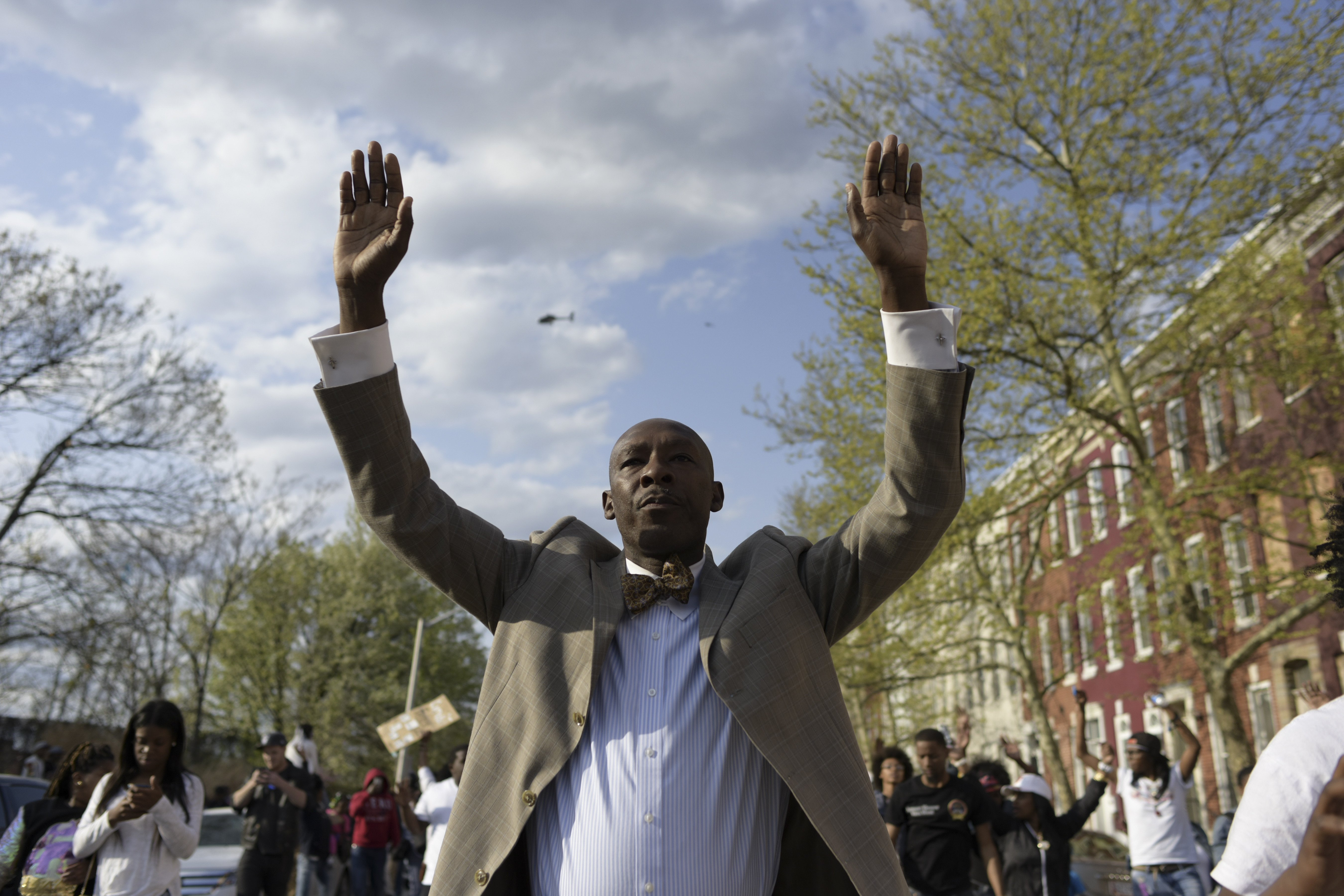Edward Mazyck joins hundreds of other protesters marching through Baltimore on April 21, 2015.