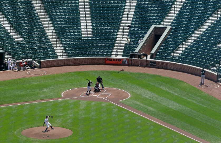 Baltimore Orioles starting pitcher Ubaldo Jimenez throws to Chicago White Sox's Adam Eaton in the first inning of a baseball game played in an empty Oriole Park at Camden Yards in Baltimore on April 29, 2015.