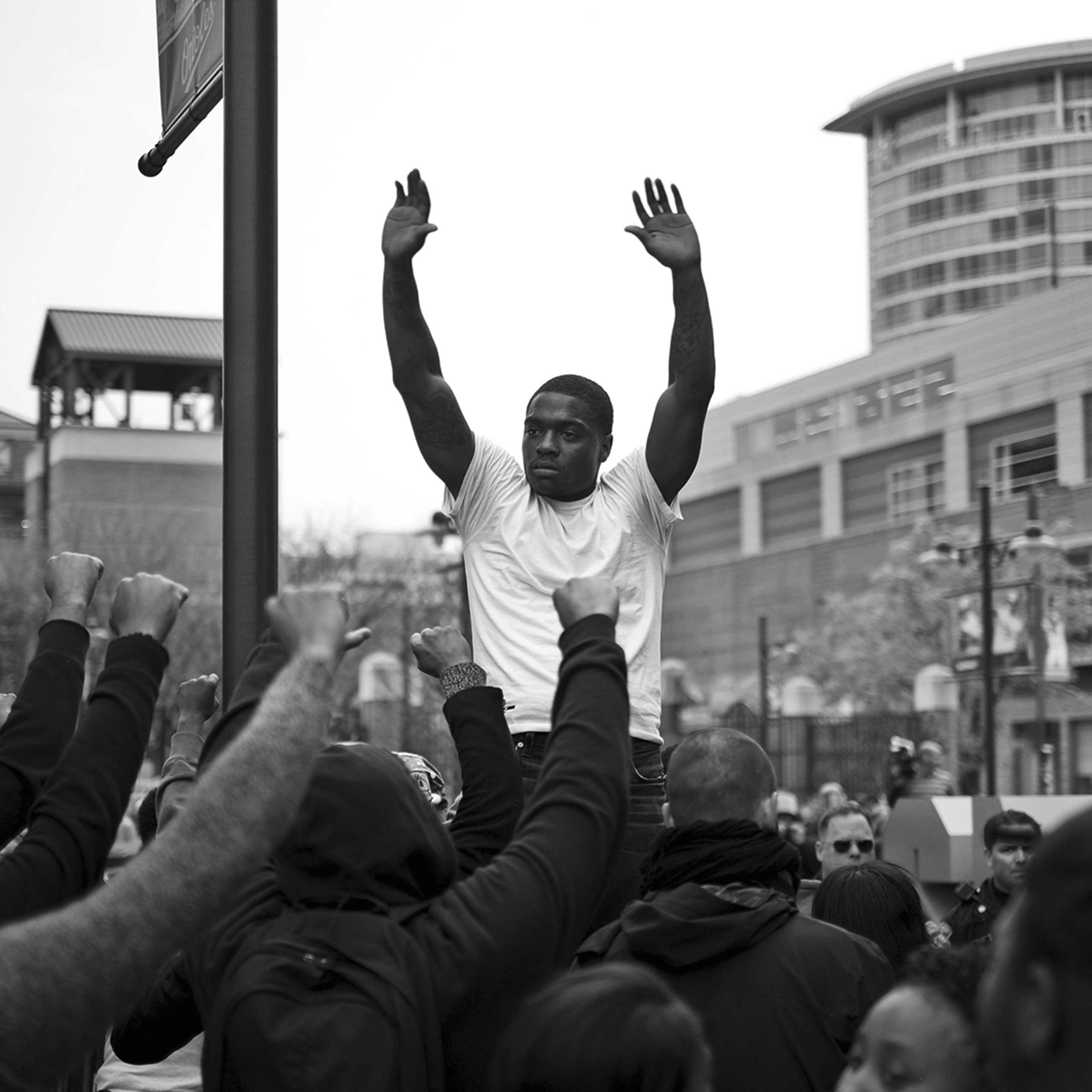 Protestor lead a march in Baltimore on April 25, 2015.