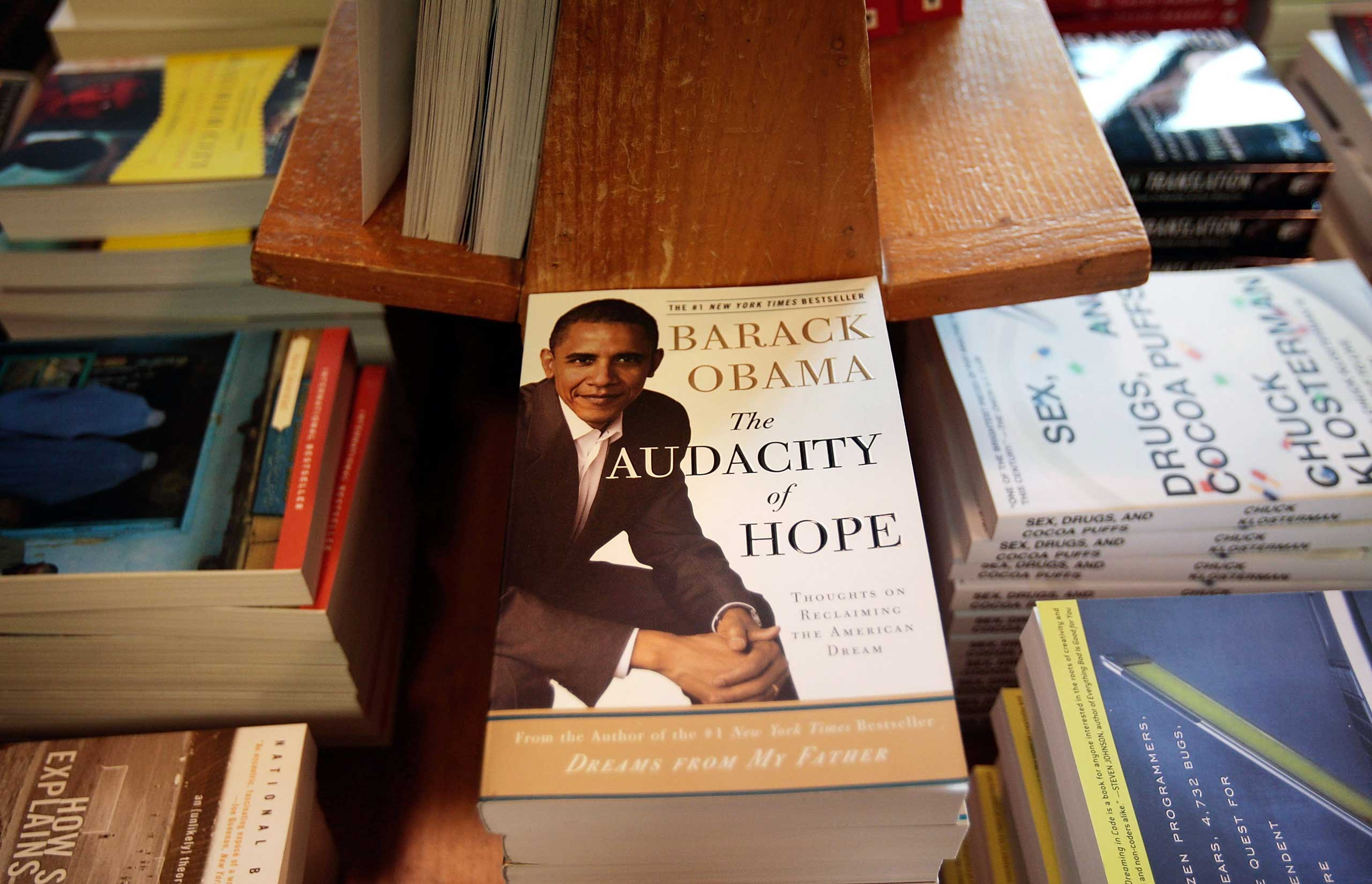 Democratic presidential candidate Sen. Barack Obama's book  The Audacity of Hope  is displayed at a bookstore in New York City on July 14, 2008.
