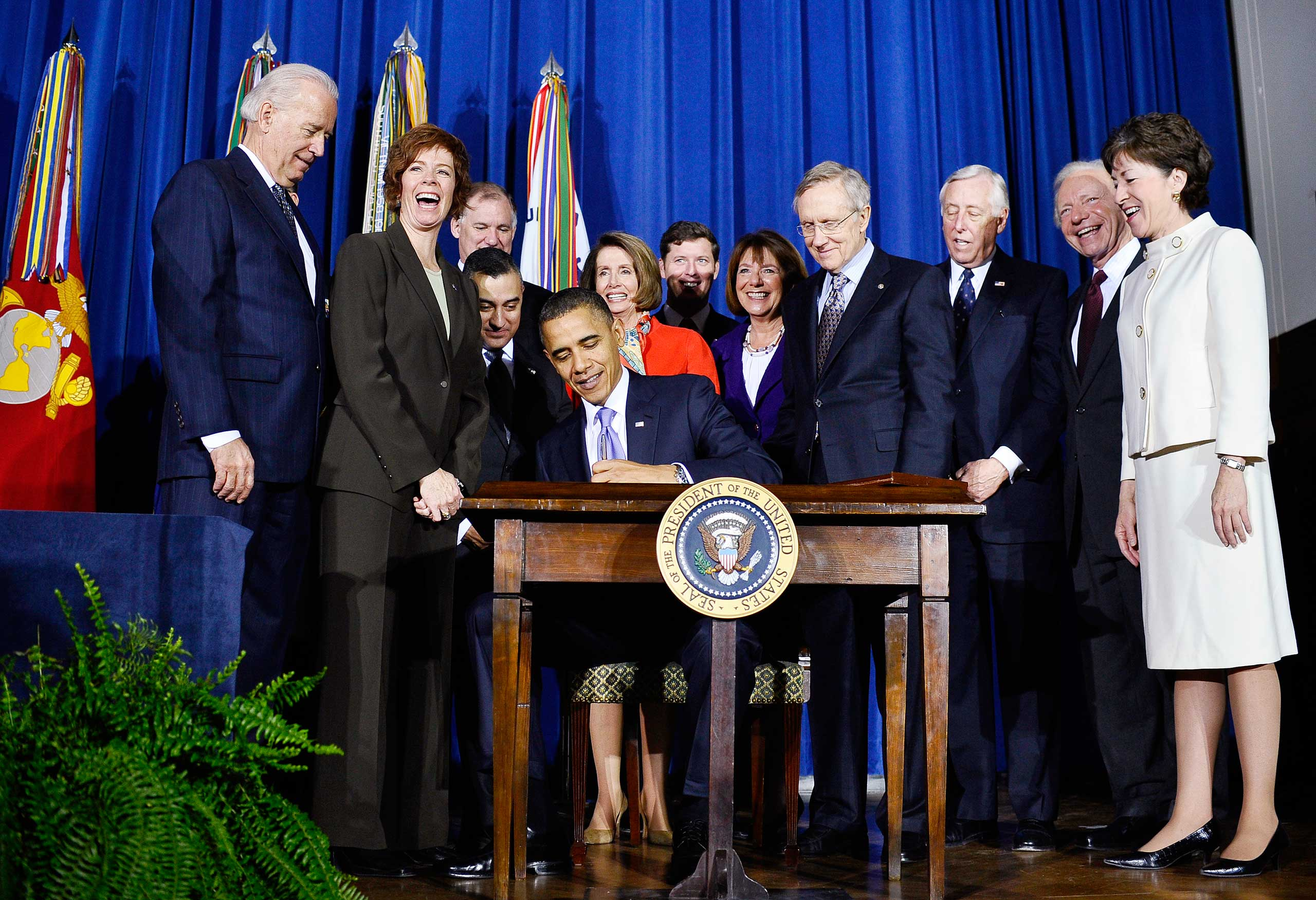 President Barack Obama  signs the Don't Ask, Don't Tell Repeal Act of 2010 into law at the Department of the Interior in Washington on Dec. 22, 2010.