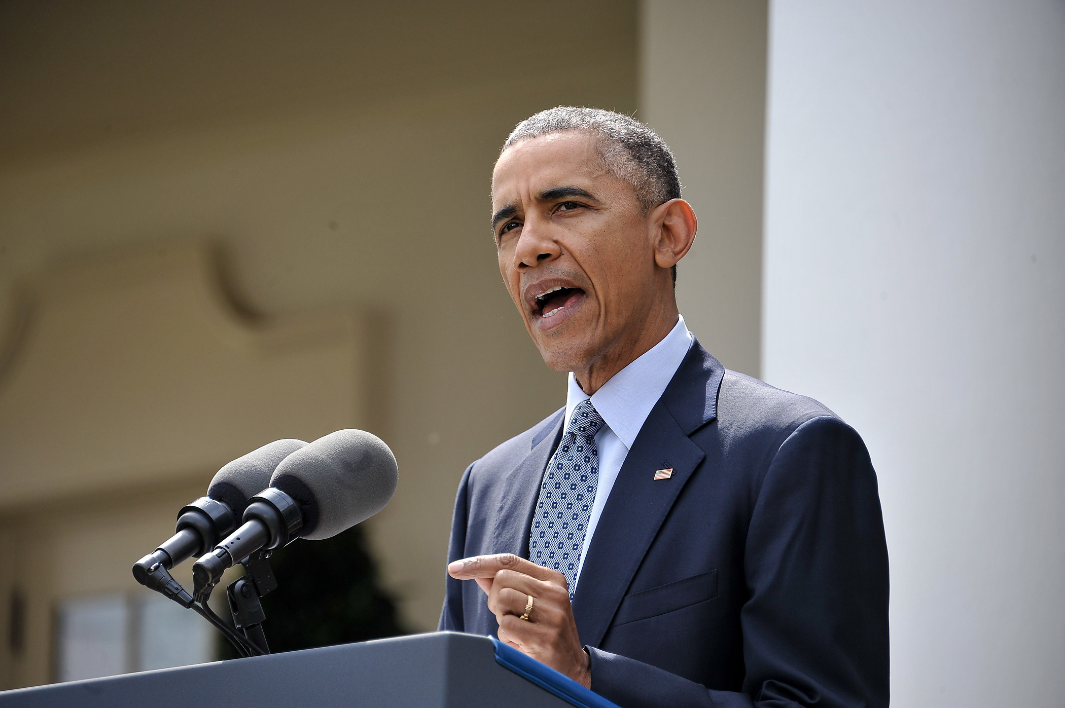 US President Barack Obama makes a statement at the White House in Washington, DC, on April 2, 2015 after a deal was reached on Iran's nuclear program.