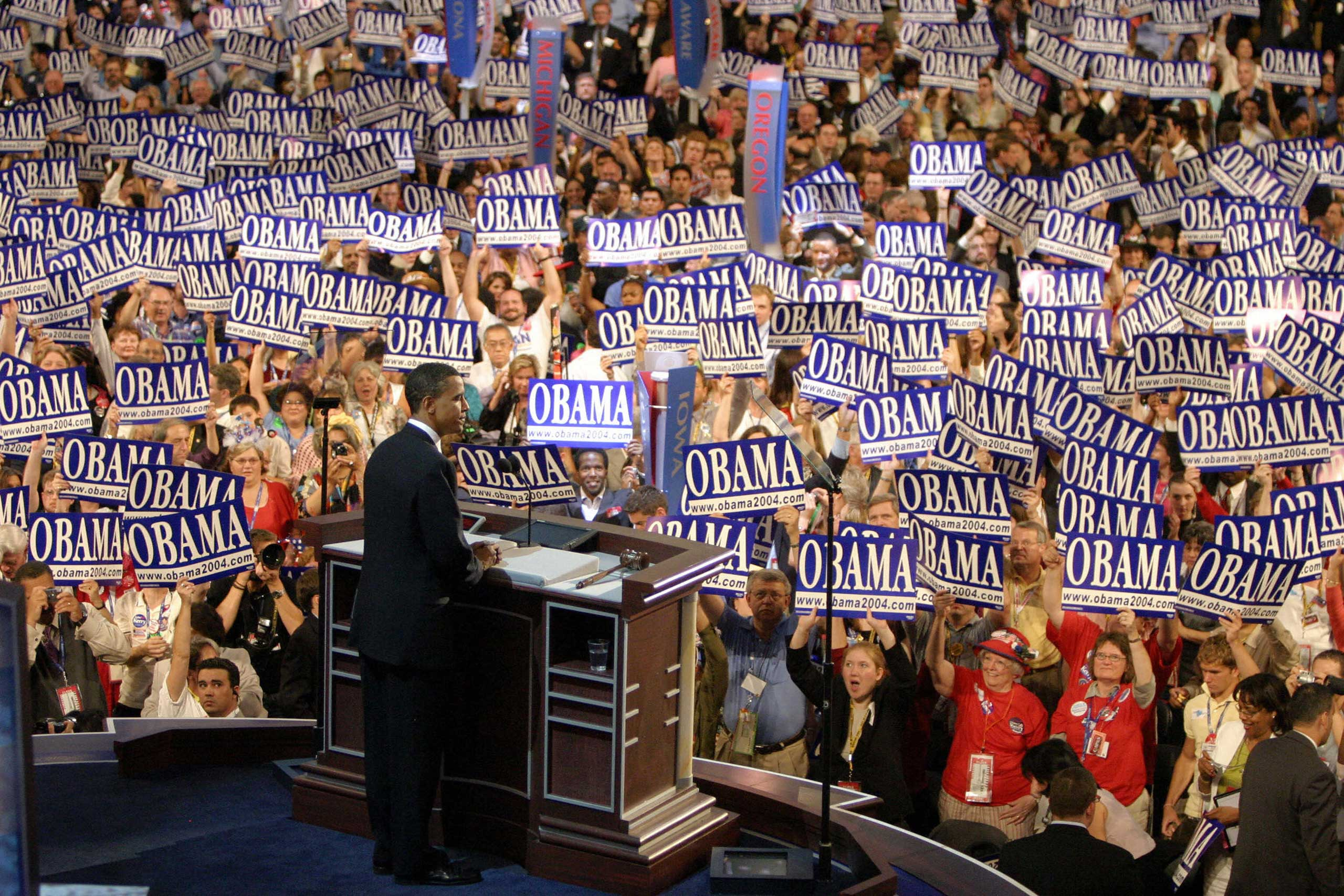 Barack Obama, US Senate candidate for Illinois, is greeted by delegates at the Democratic National Convention in Boston on July, 2004.