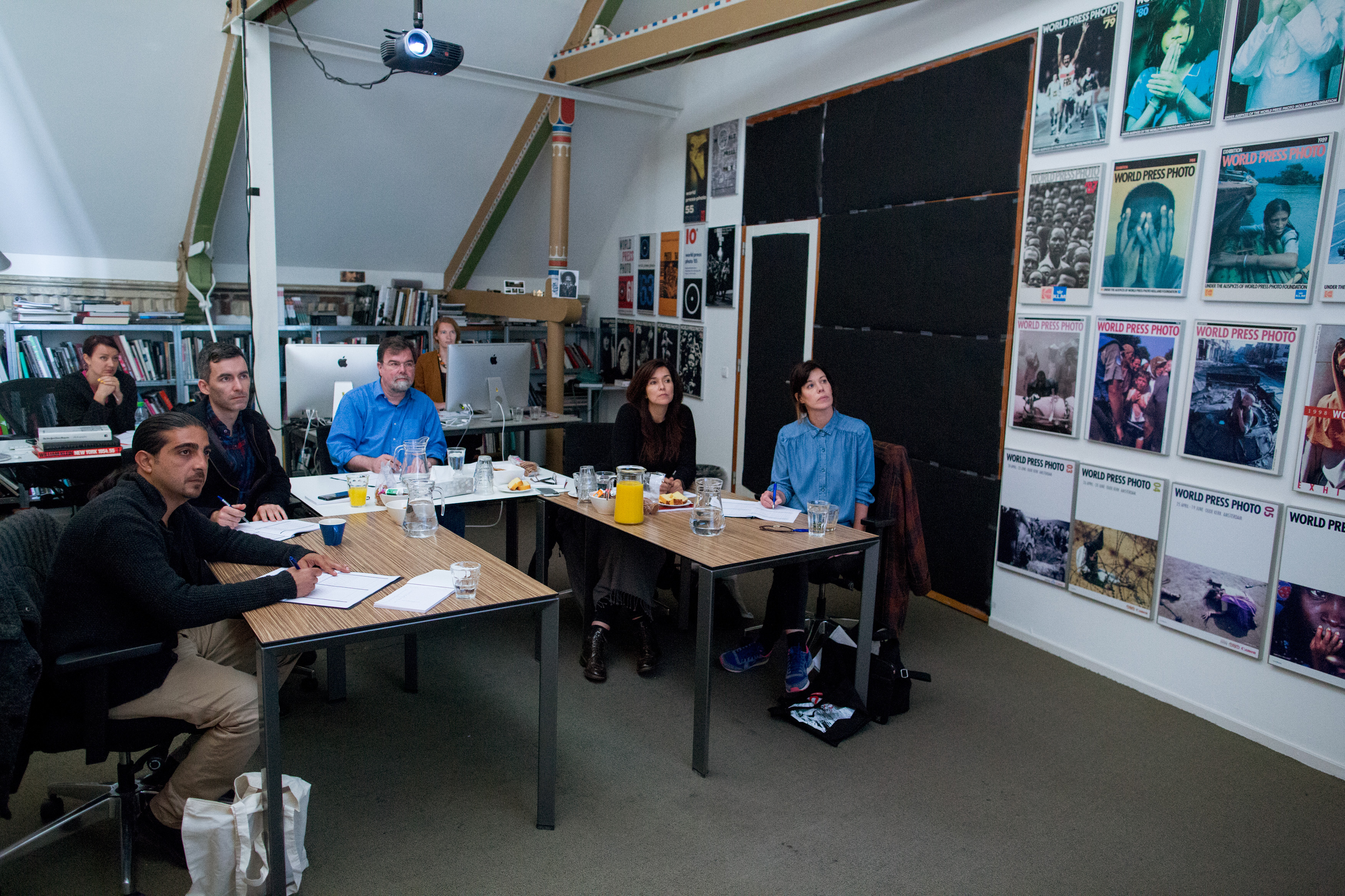 Members of the 2015 Joop Swart Masterclass jury (from left to right: Muhammed Muheisen, Paul Moakley, Jim Casper, Darcy Padilla and Rebecca McClelland) . selects this year's participants.