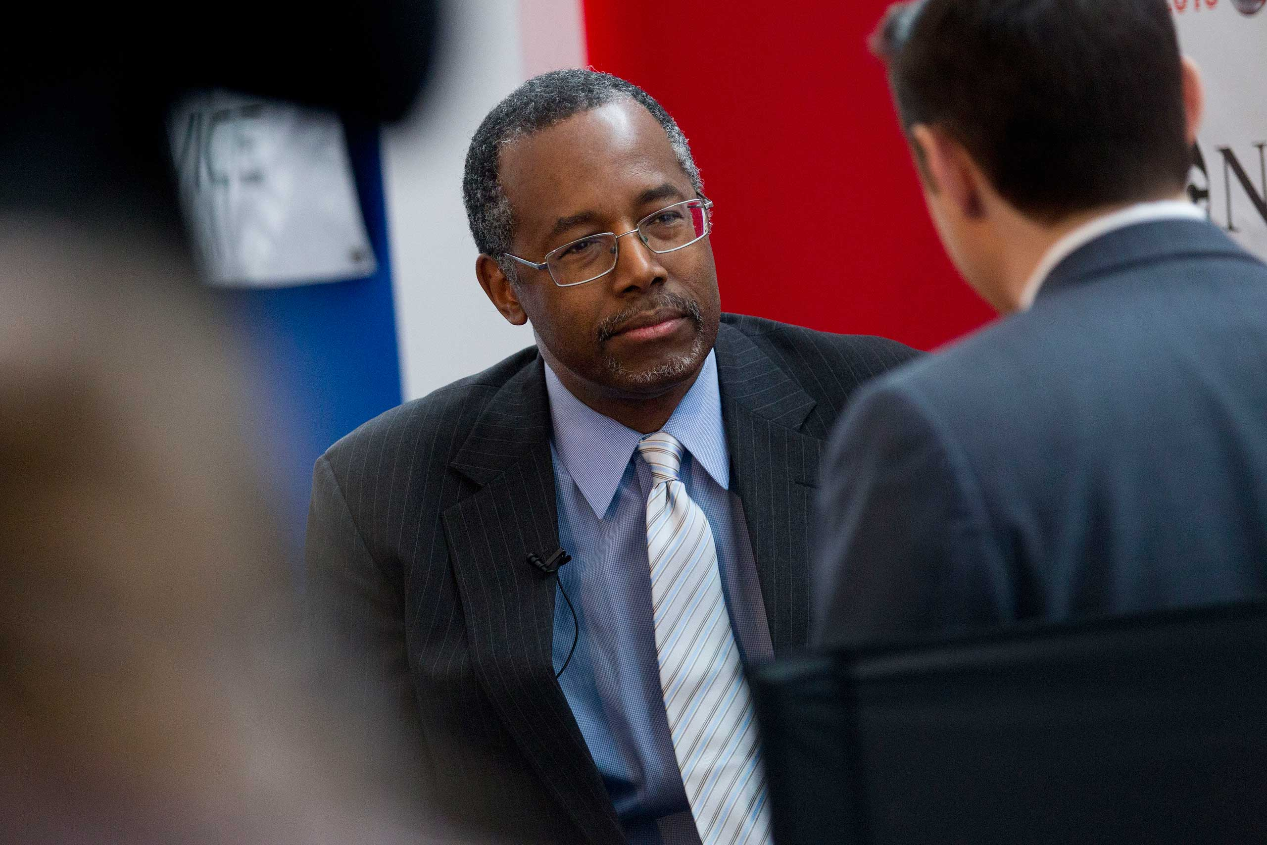 Ben Carson, possible 2016 presidential candidate, listens to a question during an interview during the Conservative Political Action Conference (CPAC) in National Harbor, Maryland, Feb. 26, 2015.