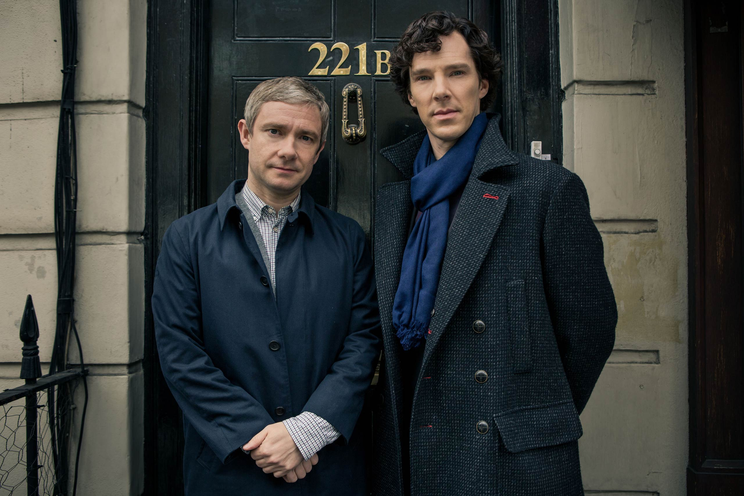 Sherlock Season 3Sundays January 19 - February 2, 201410pm ET on MASTERPIECE on PBSSherlock Holmes stalks again in a third season of the hit modern version of the Arthur Conan Doyle classic, starring Benedict Cumberbatch (War Horse) as the go-to consulting detective in 21st-century London and Martin Freeman (The Hobbit)as his loyal friend, Dr. John Watson.Shown from left to right: Martin Freeman as Dr. John Watson and Benedict Cumberbatch as Sherlock Holmes(C)Robert Viglasky/Hartswood Films for MASTERPIECEThis image may be used only in the direct promotion of MASTERPIECE. No other rights are granted. All rights are reserved. Editorial use only.