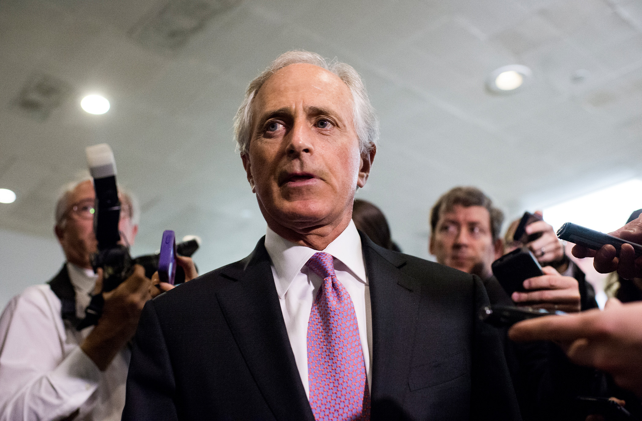 Sen. Bob Corker, Senate Foreign Relations chairman, arrives for a briefing on Iran nuclear negotiations with Secretary of State John Kerry and President Obama's chief of staff Jack Lew in the Capitol on April 14, 2015.
