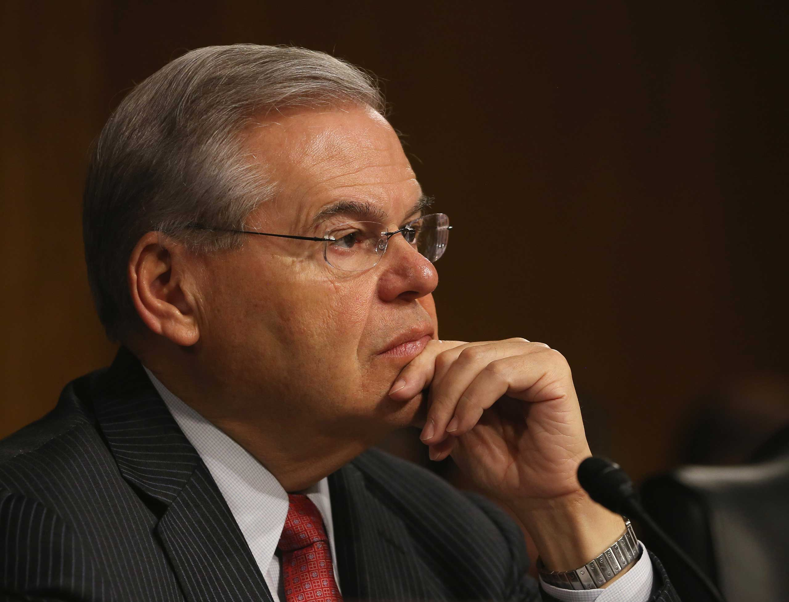 Ranking member Sen. Bob Menendez listens to testimony during a Senate Foreign Relations Committee hearing on Capitol Hill,  in Washington on March 11, 2015.