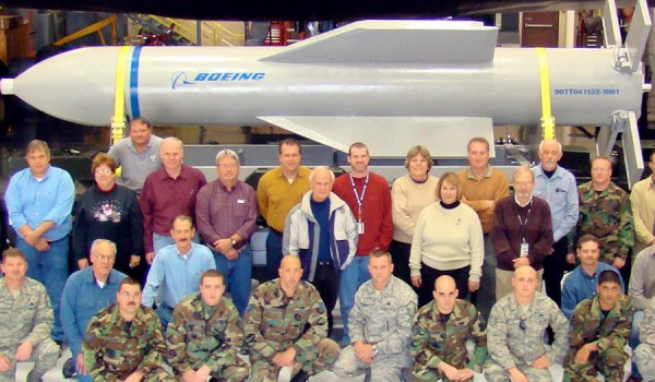 A mockup of the Massive Ordnance Penetrator at Whiteman Air Force Base, Mo.