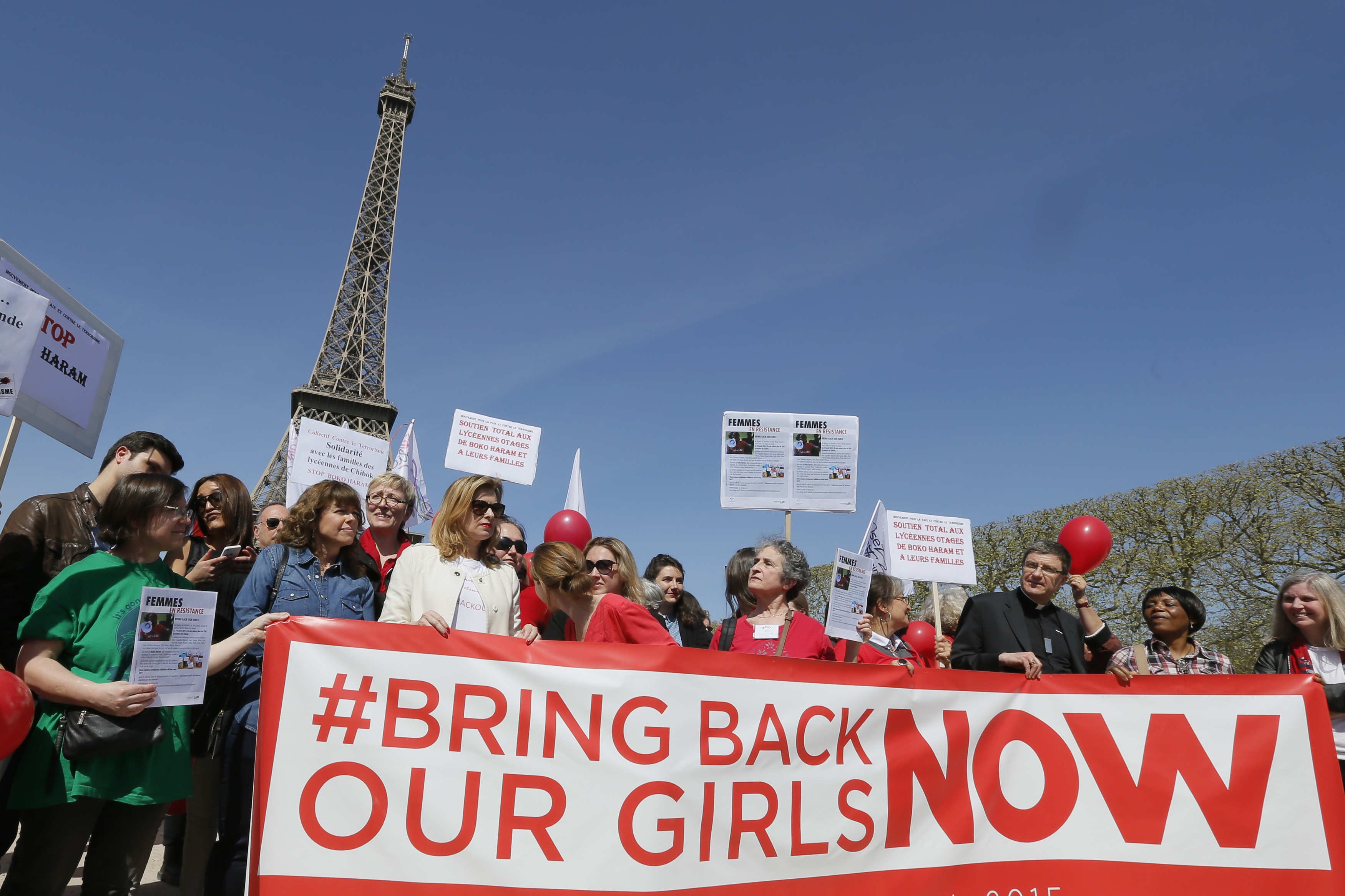 Former French first lady Valerie Trierweiler attends a gathering  Bring Back Our Girls  near the Eiffel Tower in Paris on April 14, 2015 to mark one year since more than 200 schoolgirls were kidnapped in Chibok, north-eastern Nigeria, by Nigerian Islamist rebel group Boko Haram.