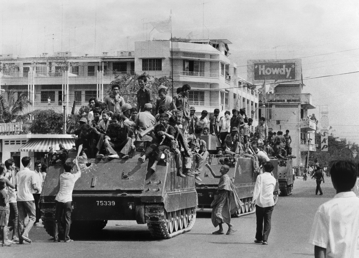 The young Khmer Rouge guerrilla soldiers enter Phnom Penh on April 17, 1975