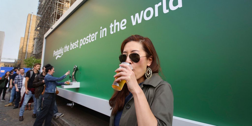 This Beer Poster Doesn't Just Depict Beer, It Actually Dispenses It to Passersby