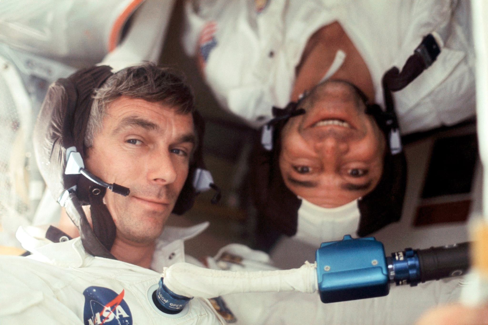 Good times: Gene Cernan (left) and crew mate Ron Evans, during the Apollo 17 mission, photographed by crew mate J