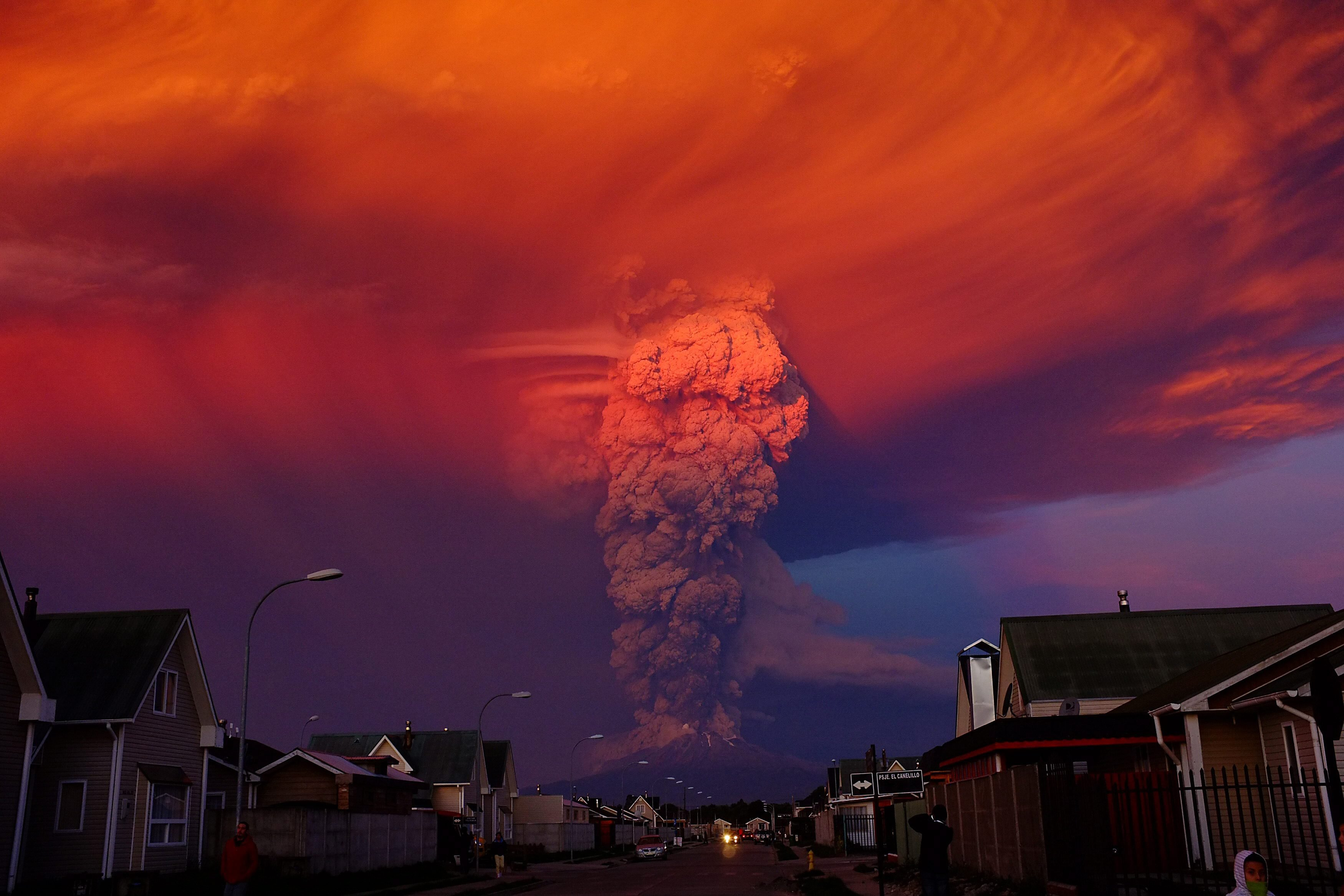 The Chilean Calbuco volcano seen from Puerto Montt, located 600 miles south of Santiago de Chile, Chile on April 22, 2015. The eruption caused a column of smoke over ten miles high. Authorities declared a red alert and ordered the evacuation of around 1500 residents in the area surrounding the volcano.