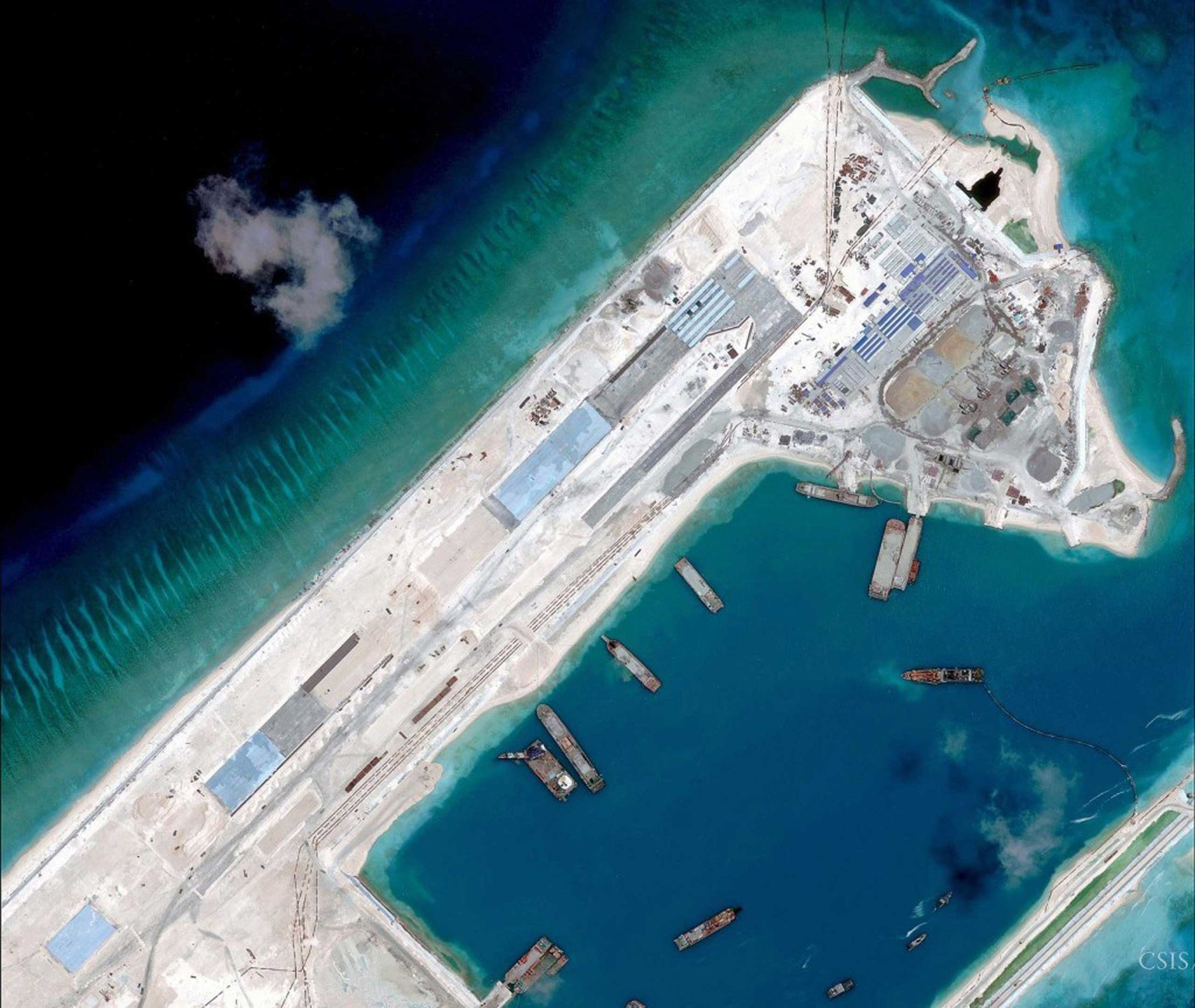 Airstrip construction on Fiery Cross Reef in the South China Sea, seen in a satellite image taken on  April 2, 2015.