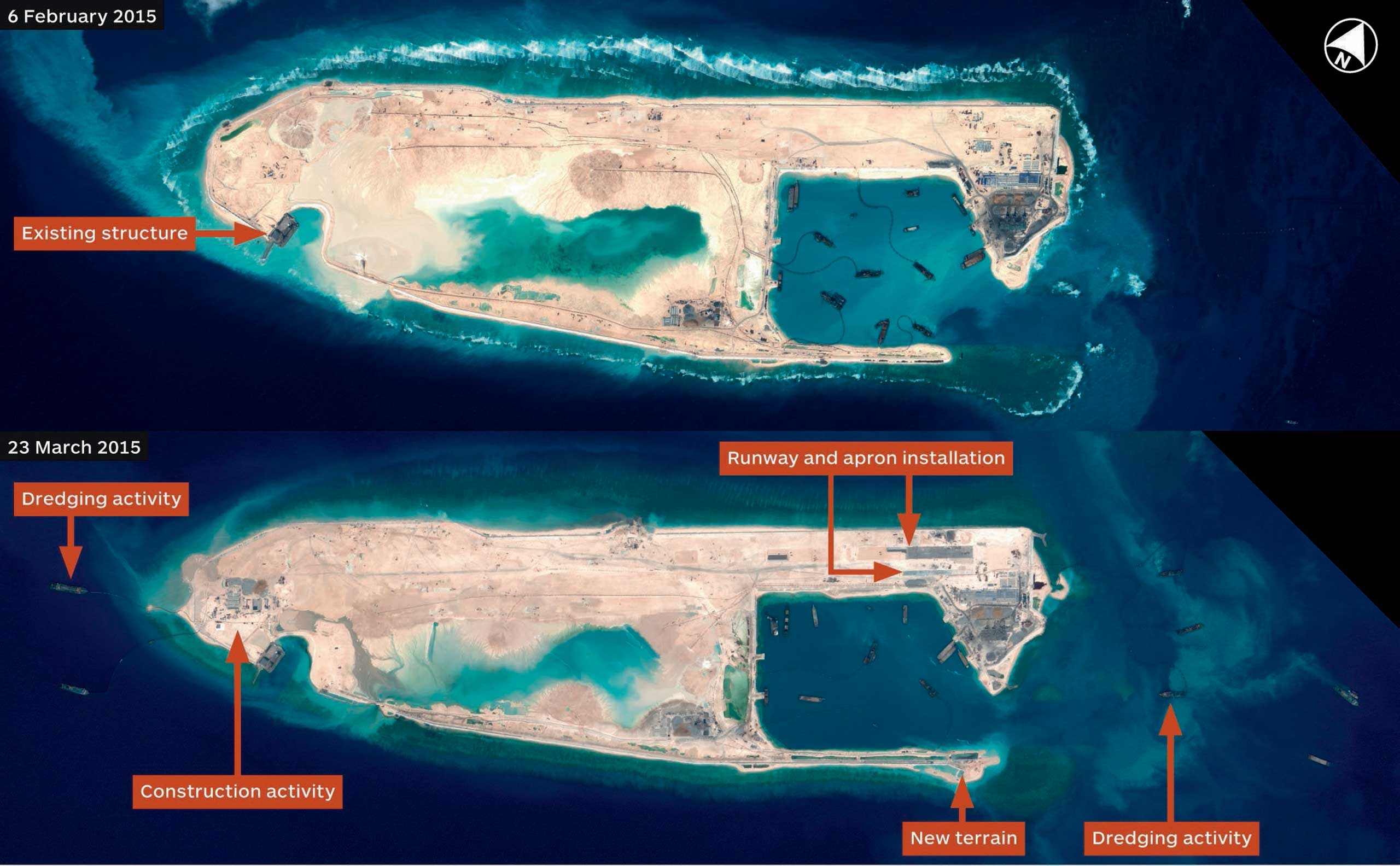 Satellite images detail China's construction activity on Fiery Cross Reef.