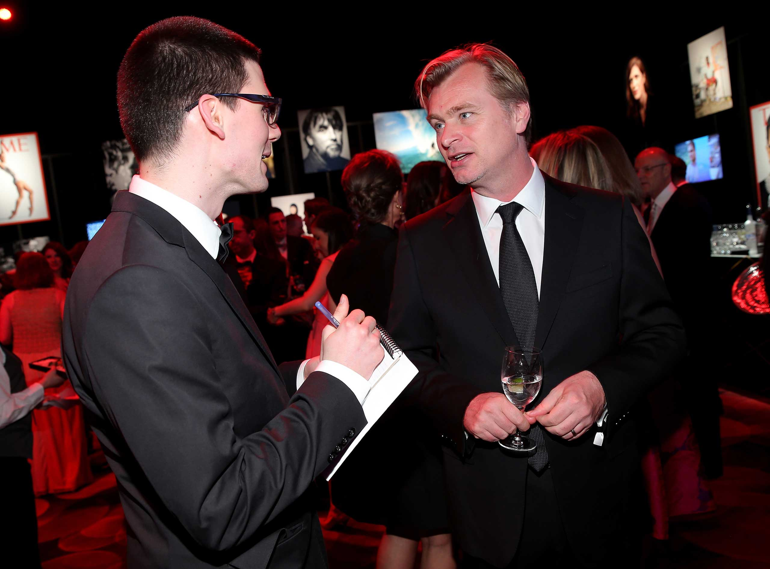 Christopher Nolan talks to TIME reporter Nolan Feeney during the TIME 100 gala at Jazz at Lincoln Center in New York City on April 21, 2015.
