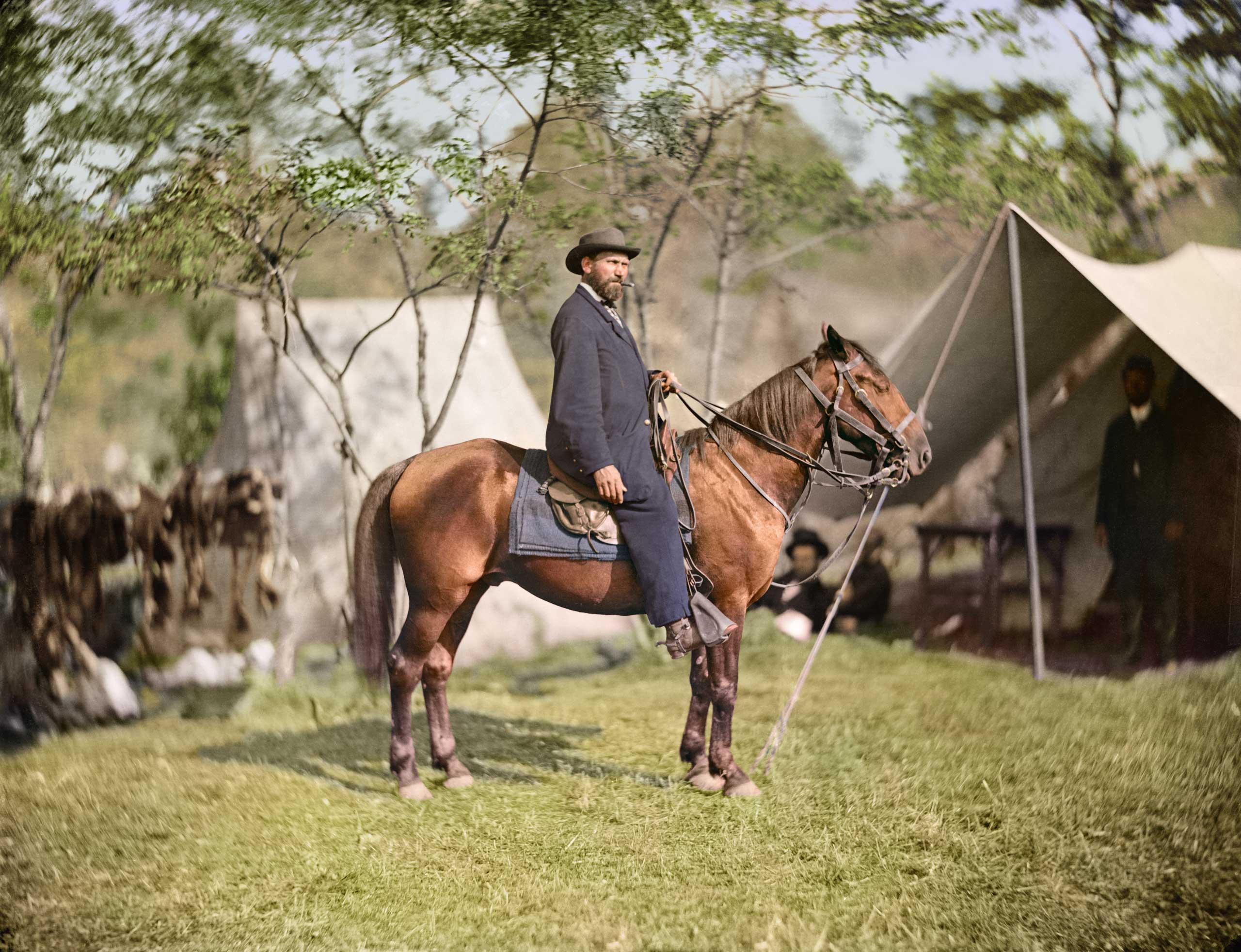 """Allan Pinkerton (""""E. J. Allen"""") of the Secret Service on horseback in Antietam, Md., Oct. 1862."""