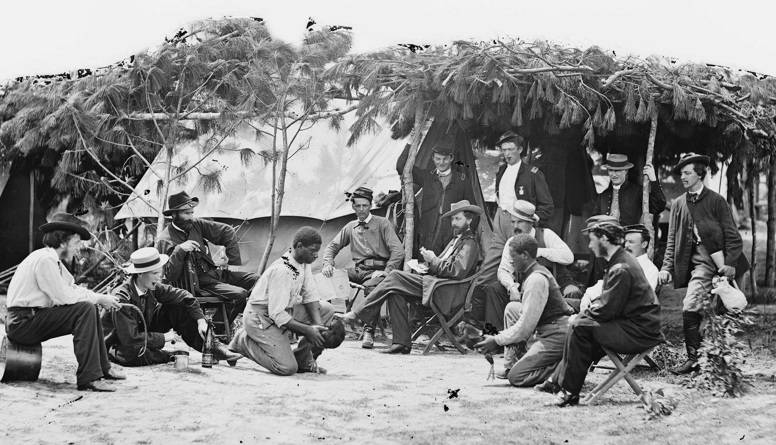 Cock fighting at Gen. Orlando B. Willcox's headquarters in Petersburg, Va., 1864.