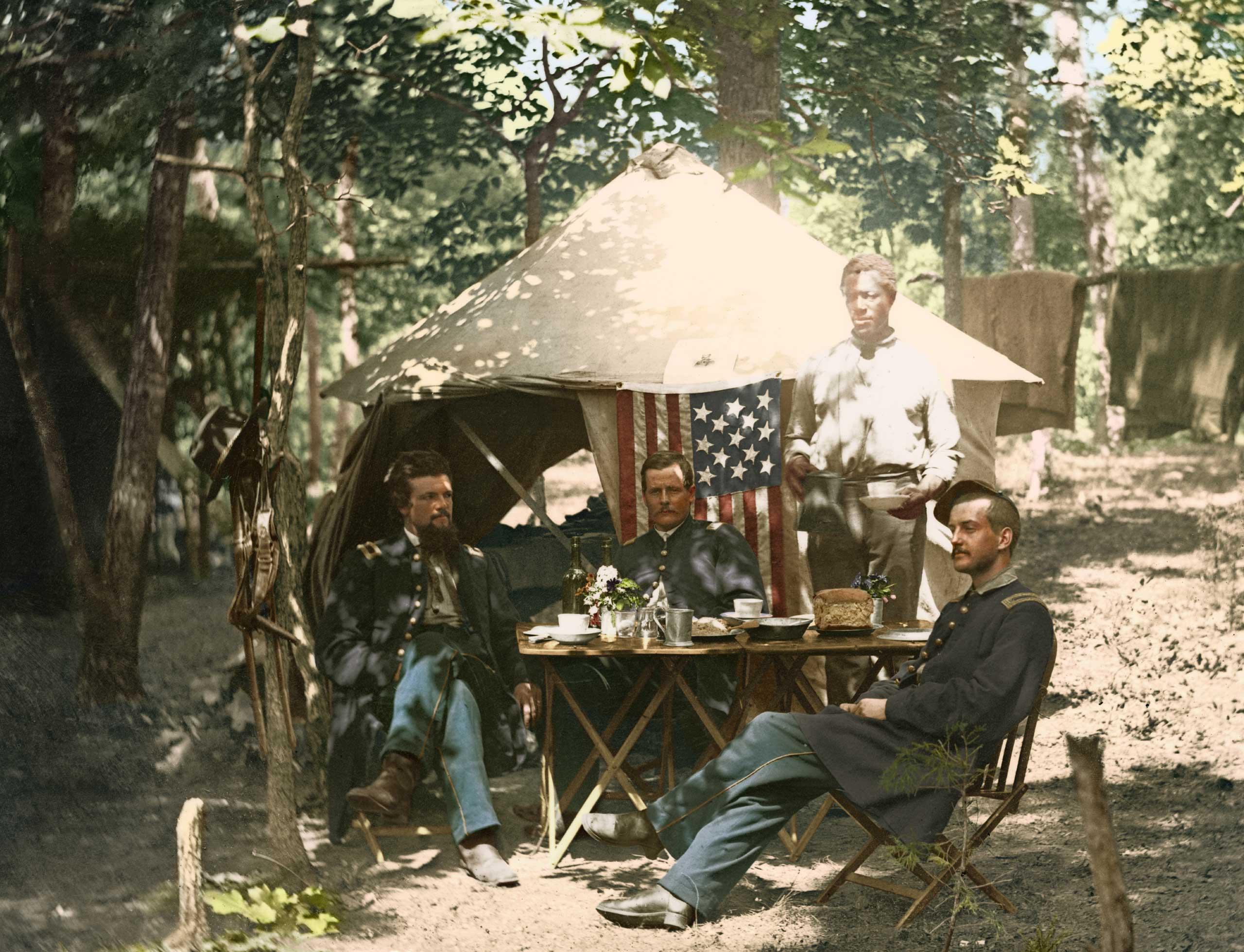Officer's mess, Company E, 93rd New York Volunteers, in Bealeton, Va., Aug., 1863