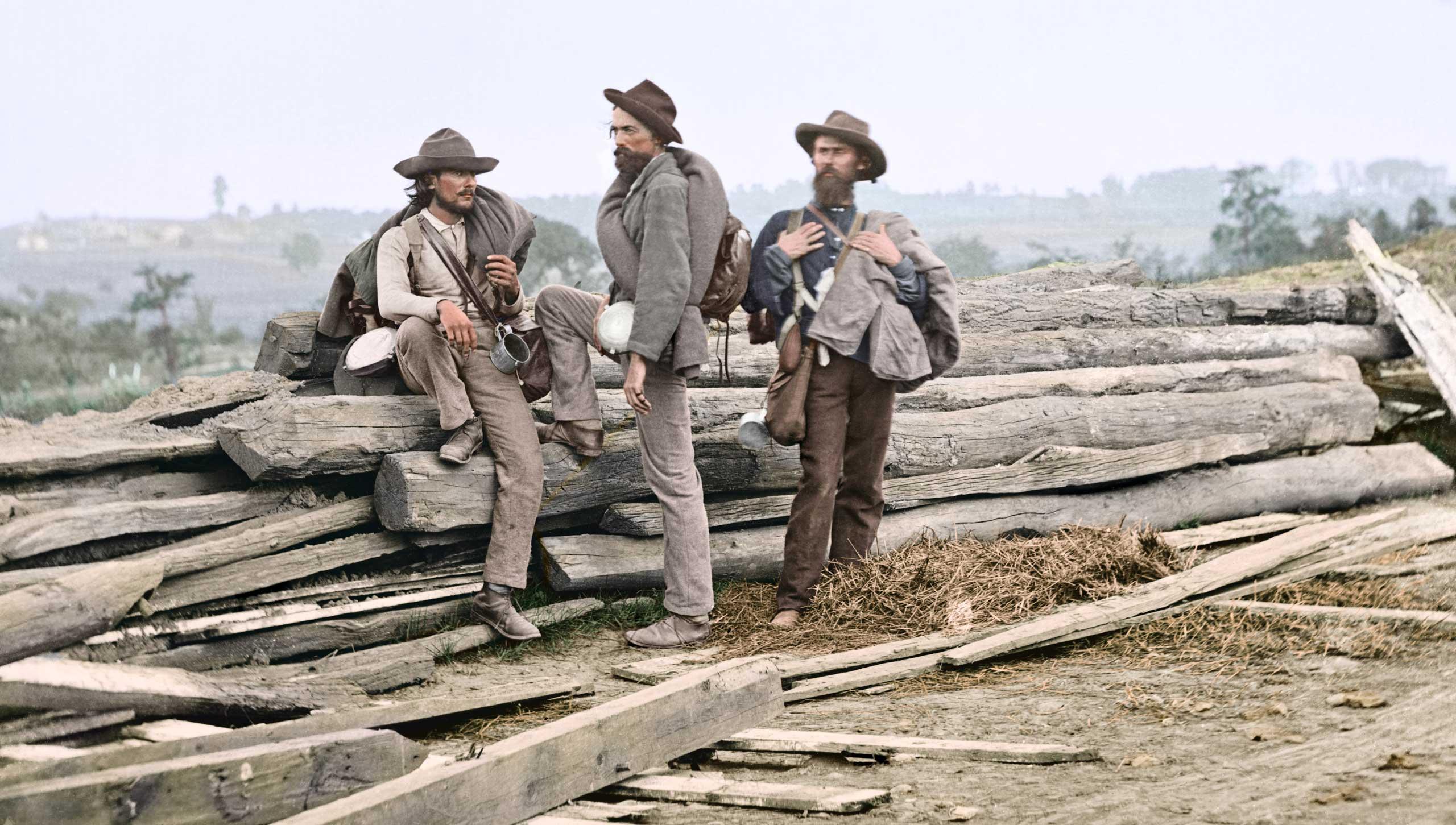 Three Confederate prisoners in Gettysburg, Penn., June-July, 1863.