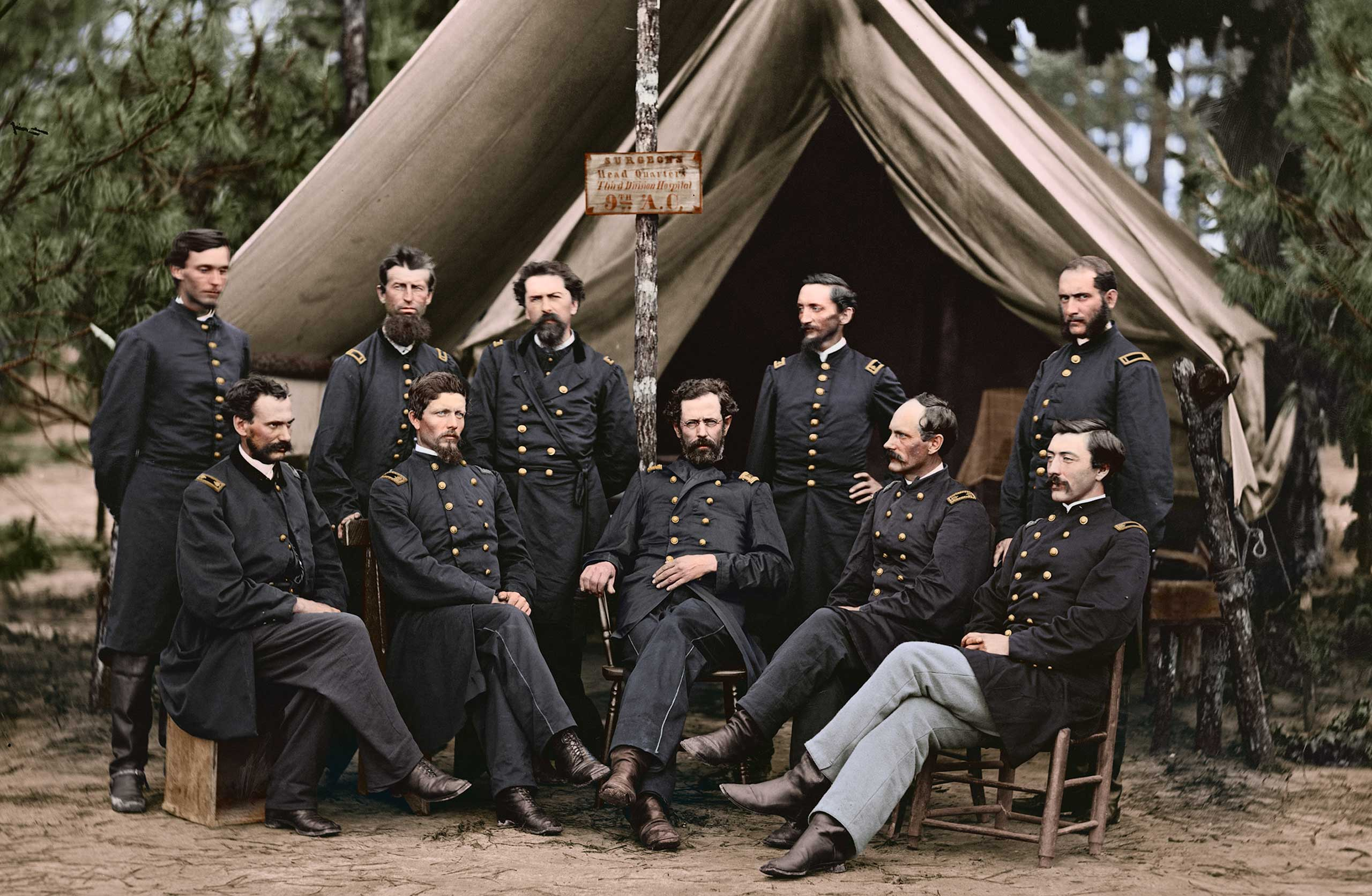 Surgeons of the 3rd Division before hospital tent in Petersburg, Va., Aug. 1864.