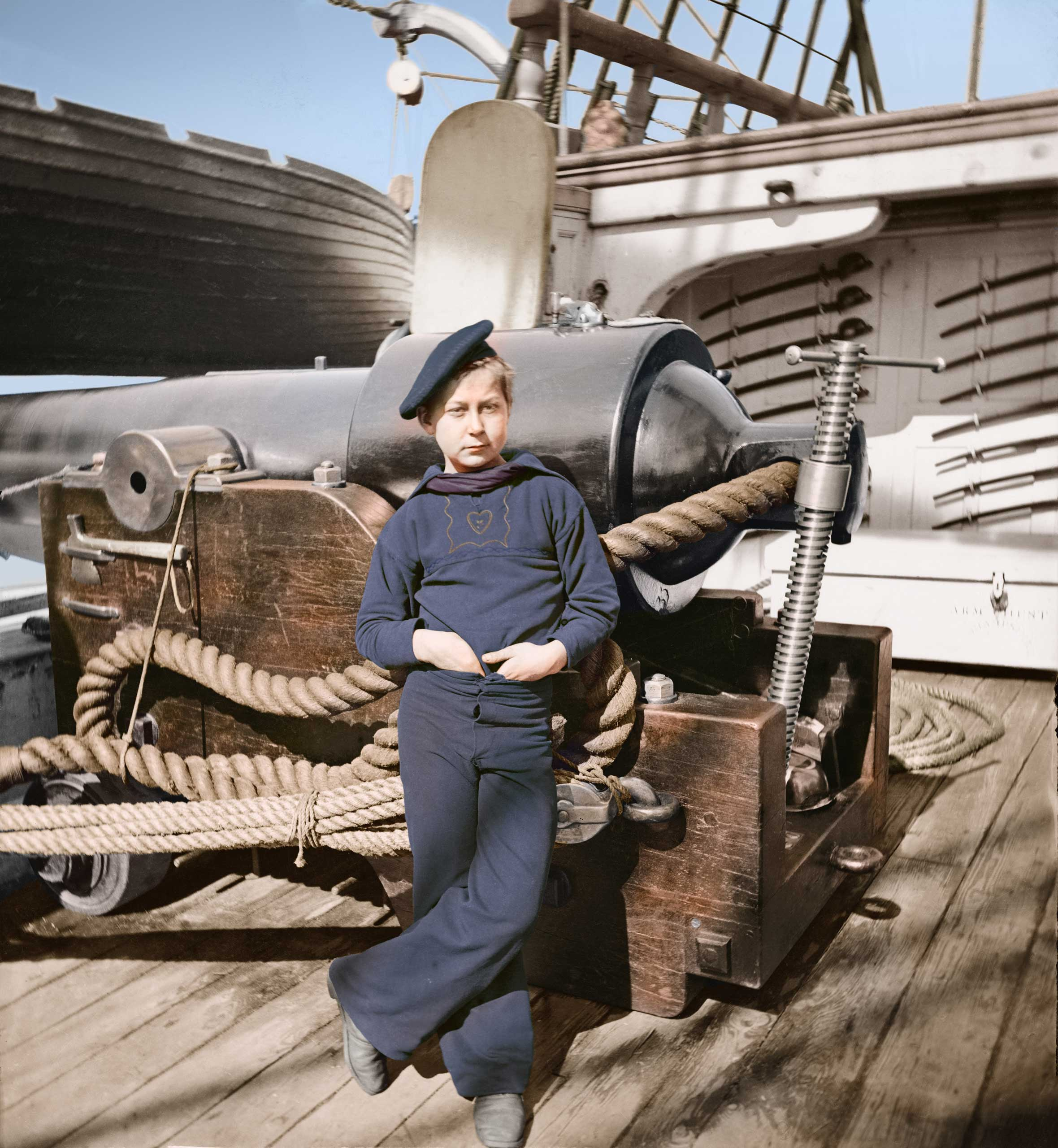 Powder boy by gun of U.S.S. New Hampshire off  the coast of Charleston, S.C., 1860.