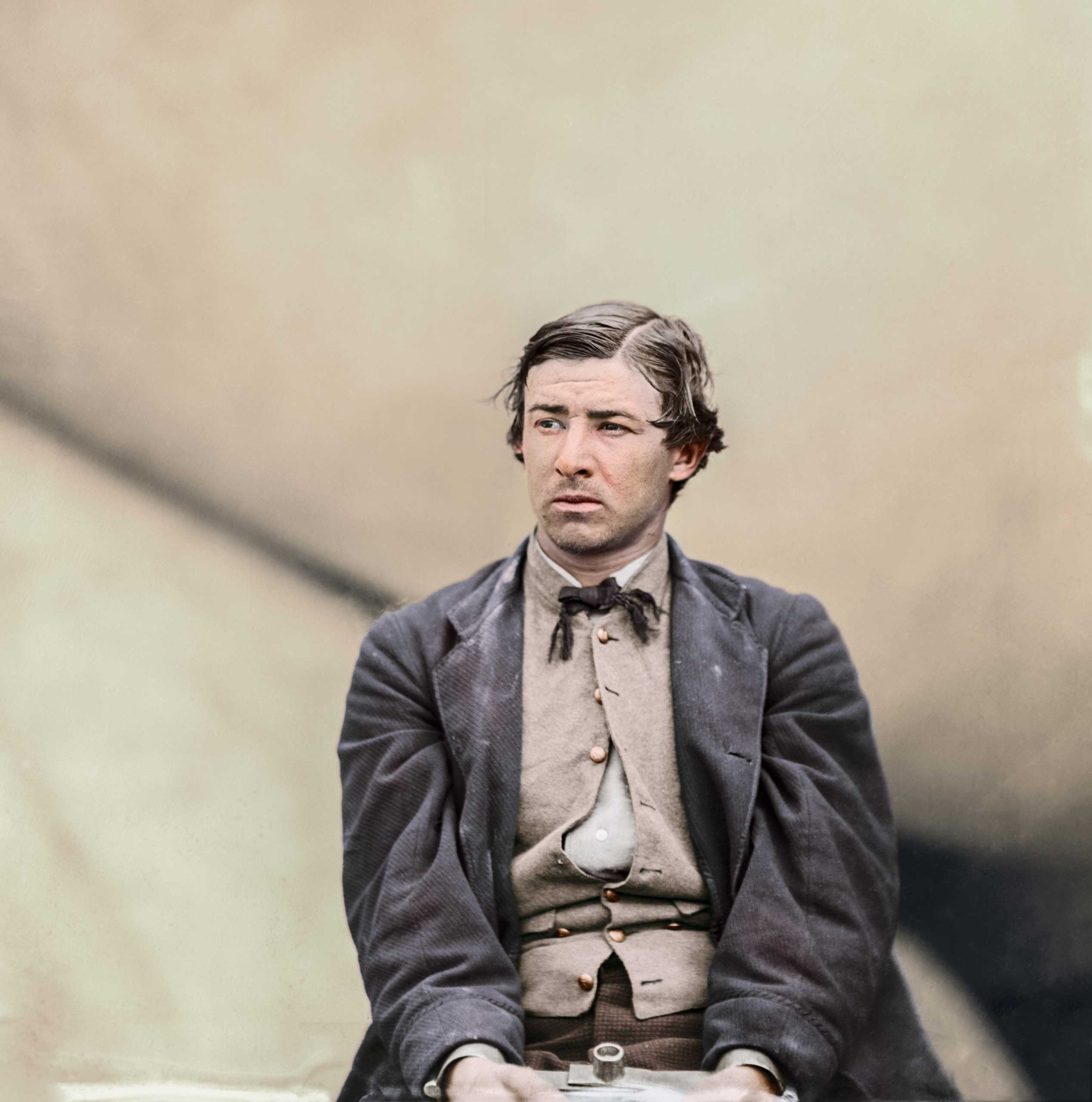 David E. Herold, a conspirator in the assassination of President Lincoln, in the Washington Navy Yard, April-July 1865.