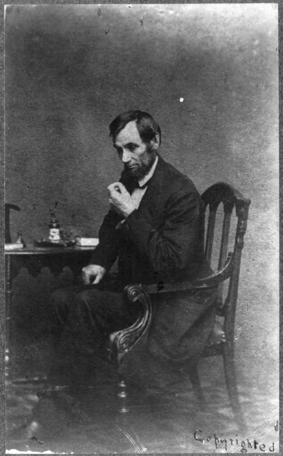 Abraham Lincoln in a reflective pose, in Washington, DC, May 16, 1861.